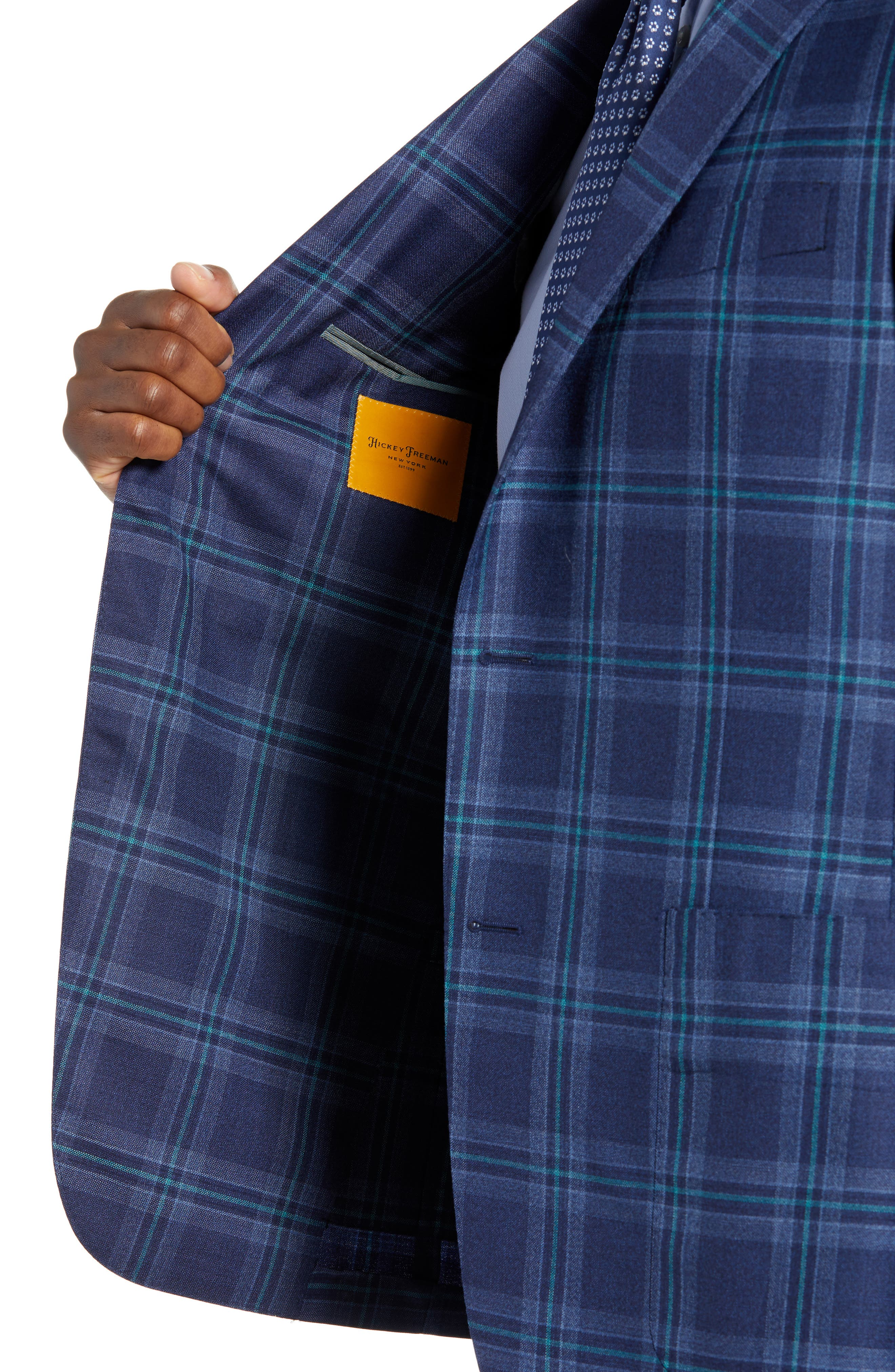 Classic B Fit Plaid Wool Sport Coat,                             Alternate thumbnail 4, color,                             BLUE