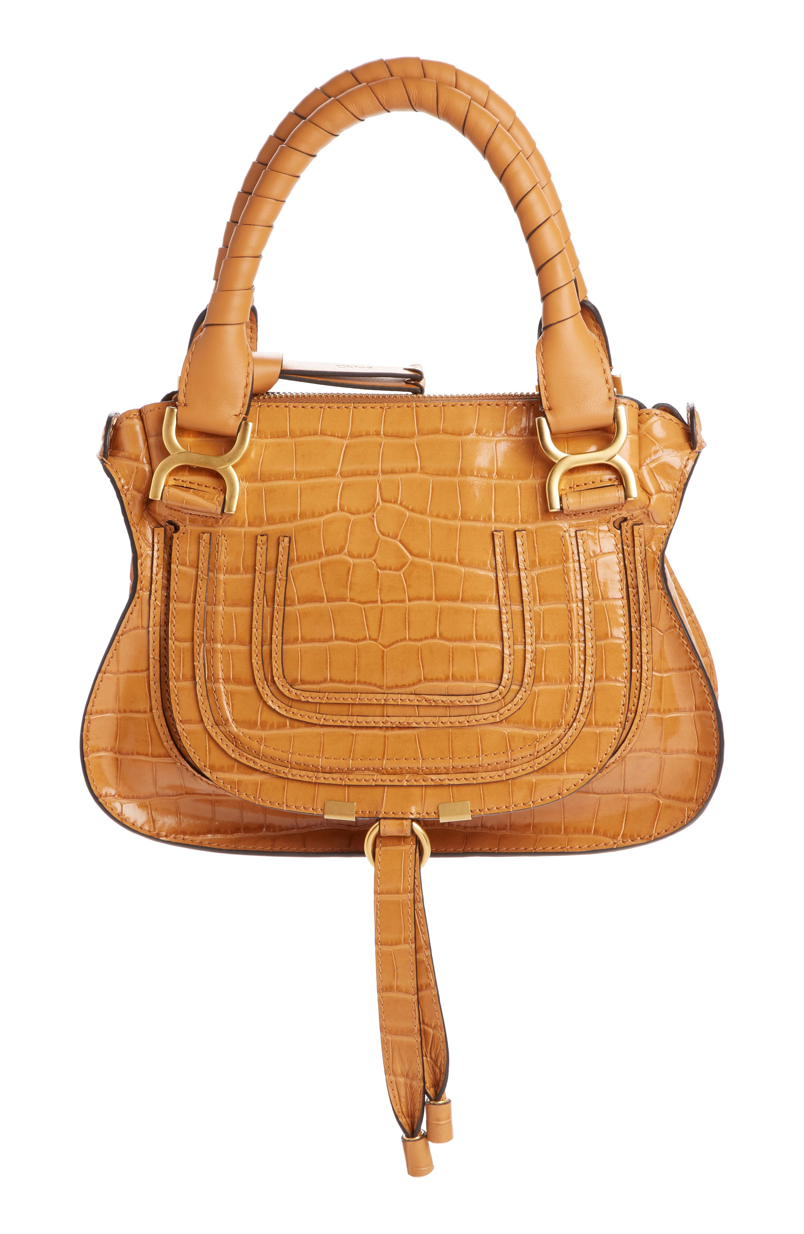 Small Marcie Croc Embossed Leather Satchel, Main, color, AUTUMNAL BROWN