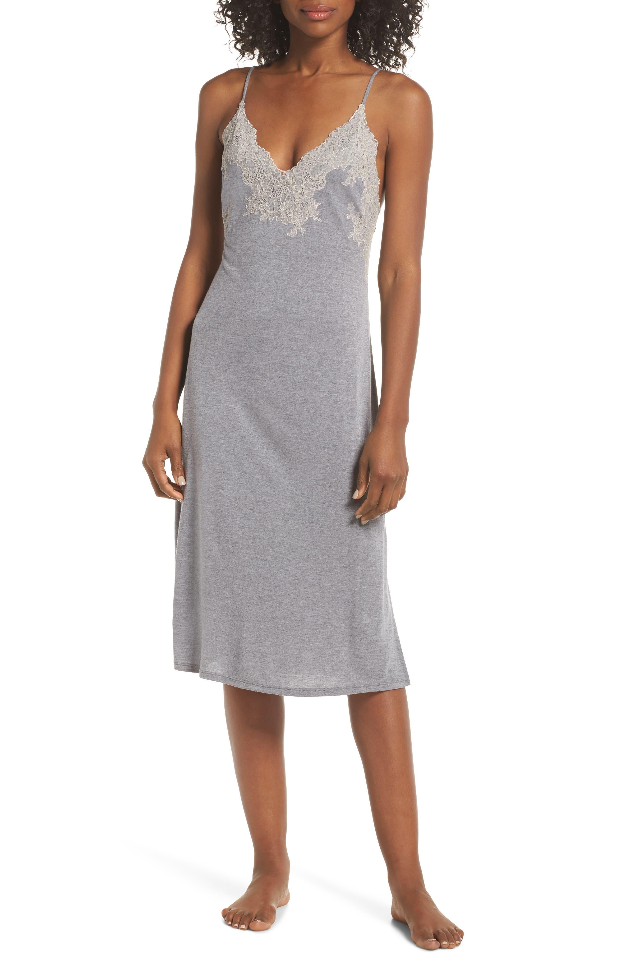 Natori Luxe Shangri-La Nightgown, Grey