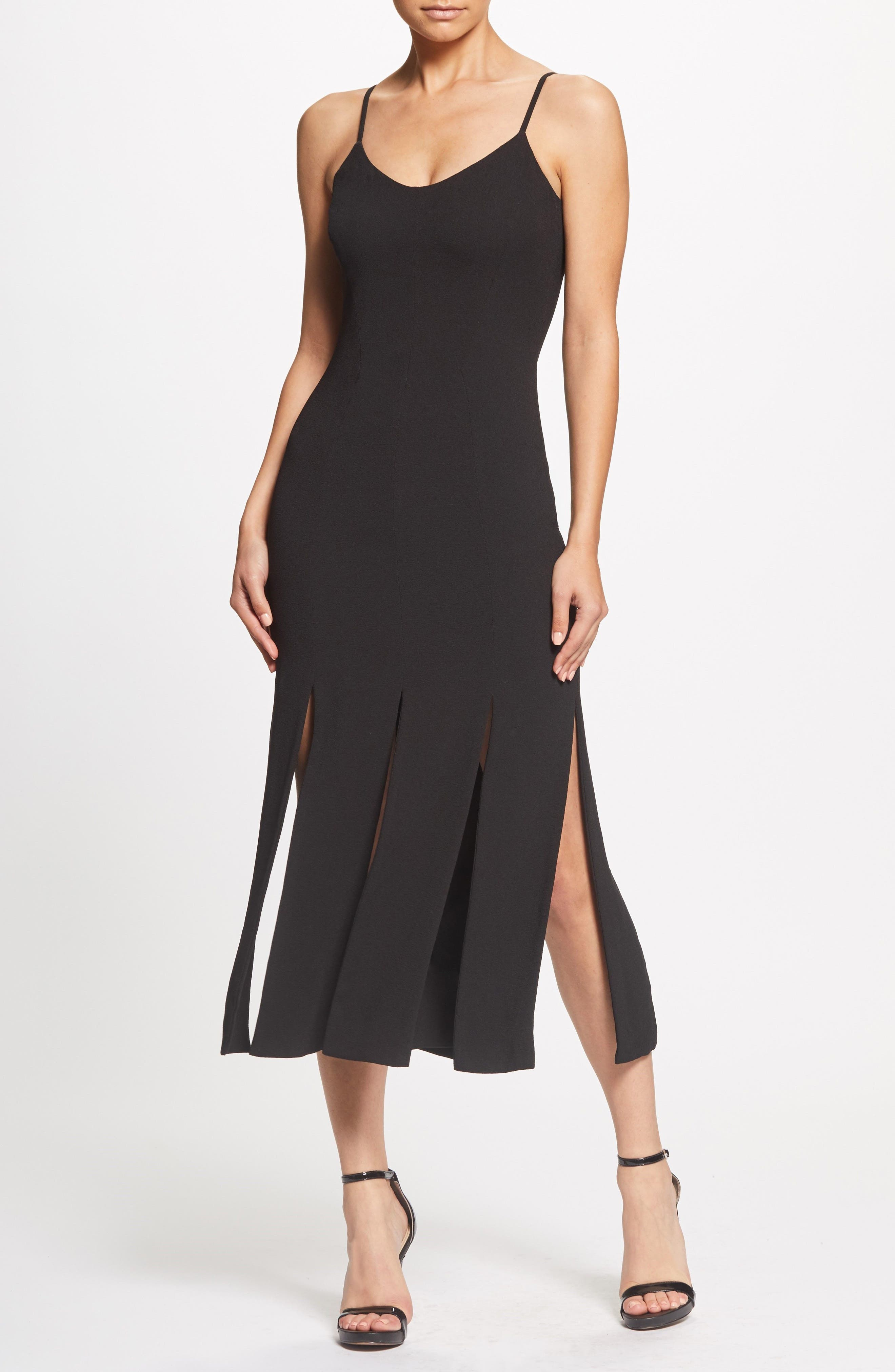 Devon Midi Dress,                             Alternate thumbnail 6, color,                             BLACK
