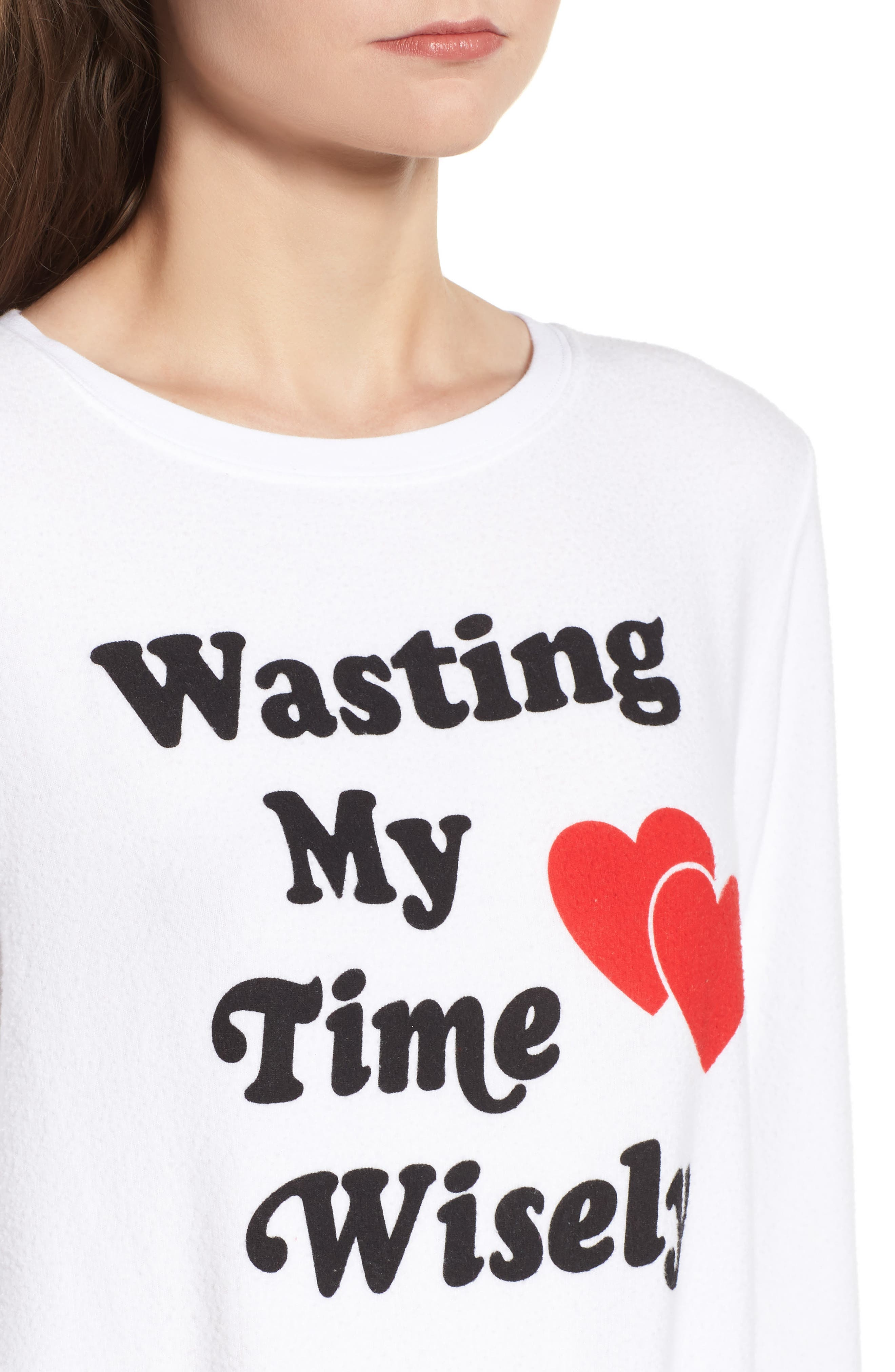 Wasting My Time Wisely Baggy Beach Sweatshirt,                             Alternate thumbnail 4, color,                             100