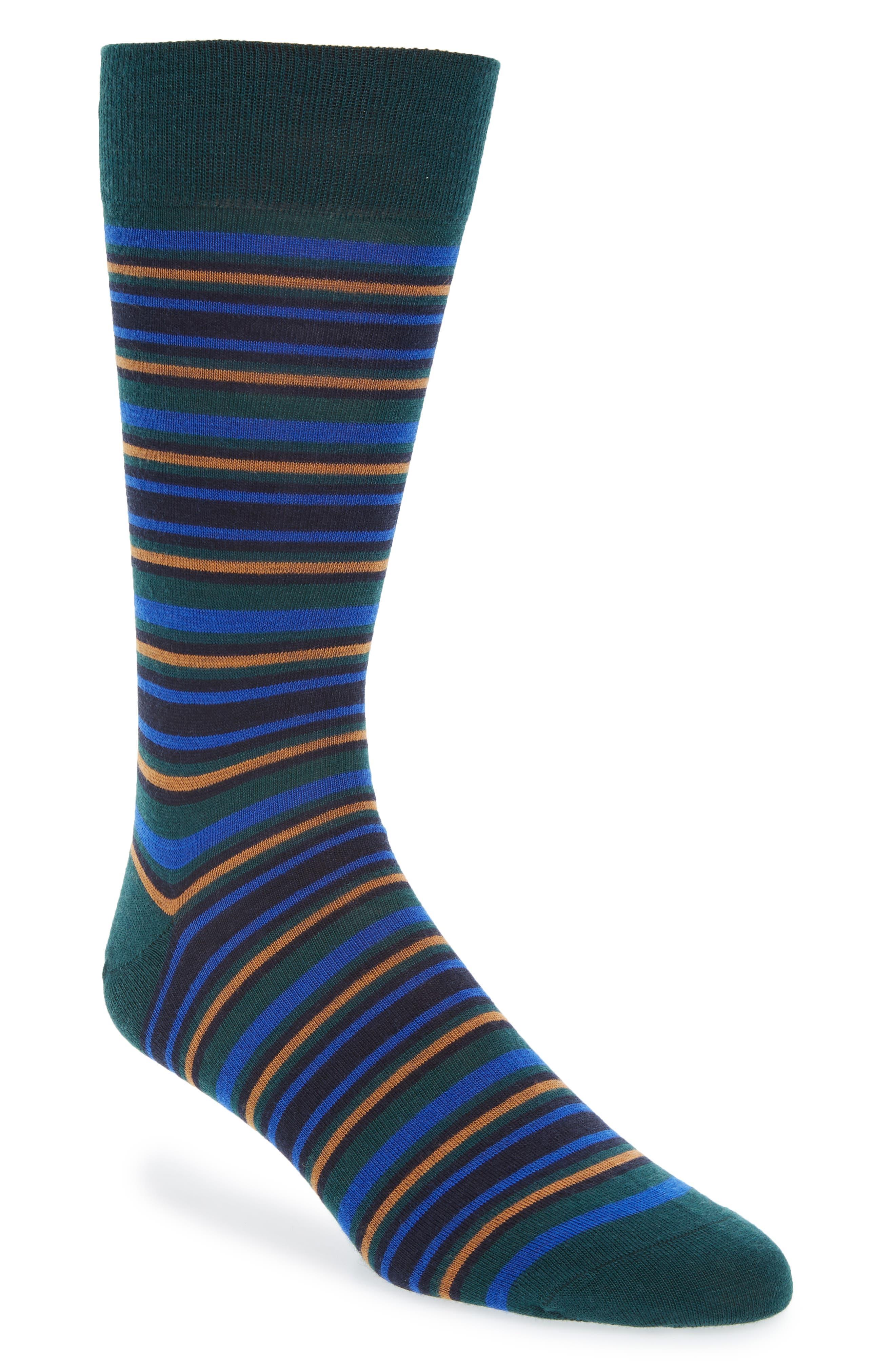 PANTHERELLA Men'S Piper Striped Wool Socks in Tartan