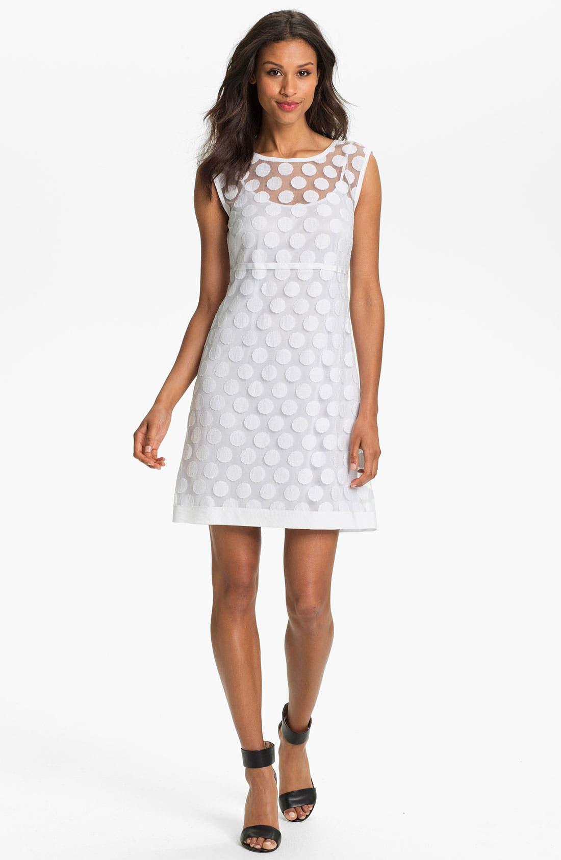 Polka Dot Lace A-Line Dress,                         Main,                         color, 140