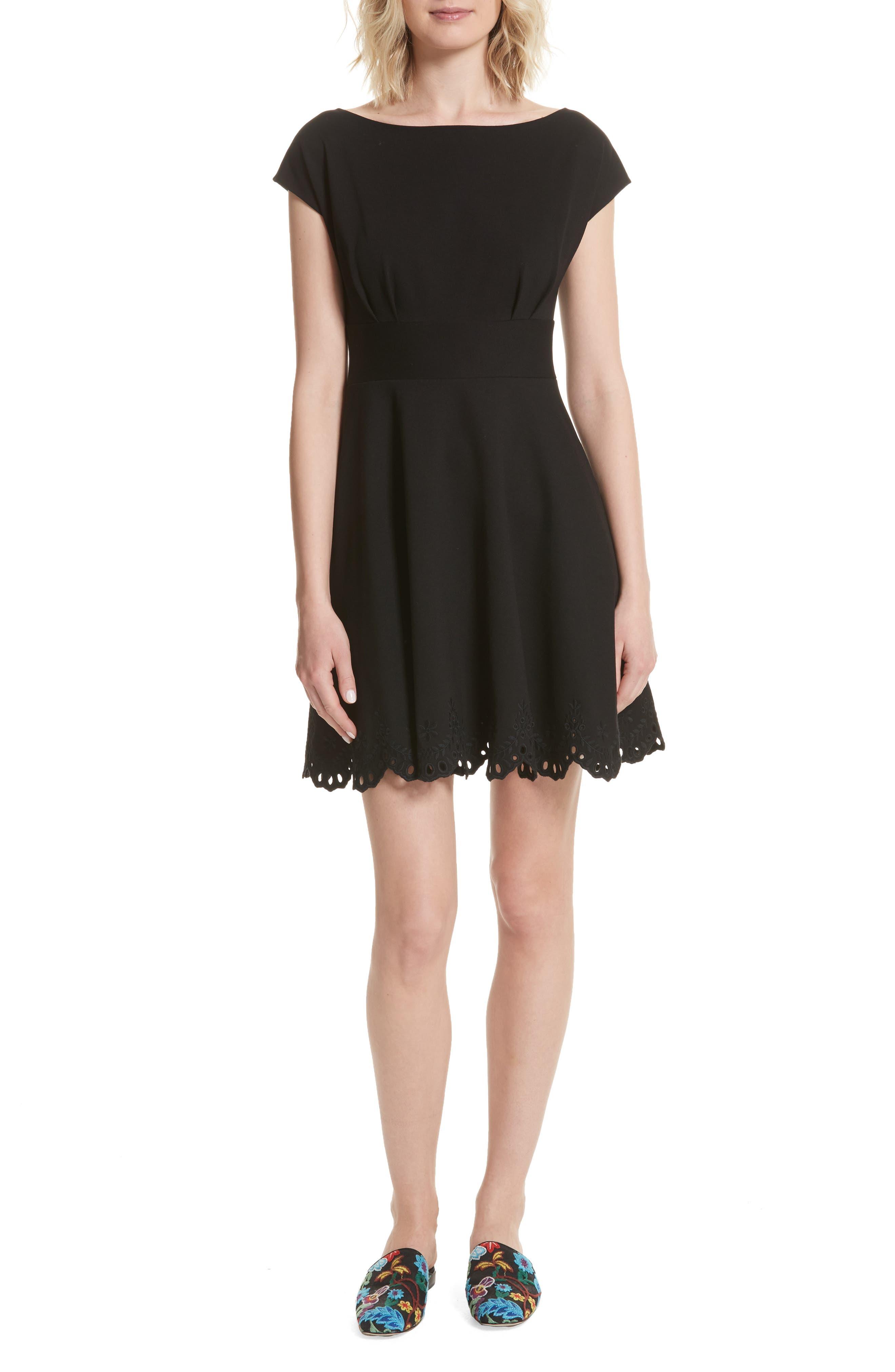 fiorella cutwork hem dress,                             Main thumbnail 1, color,                             001