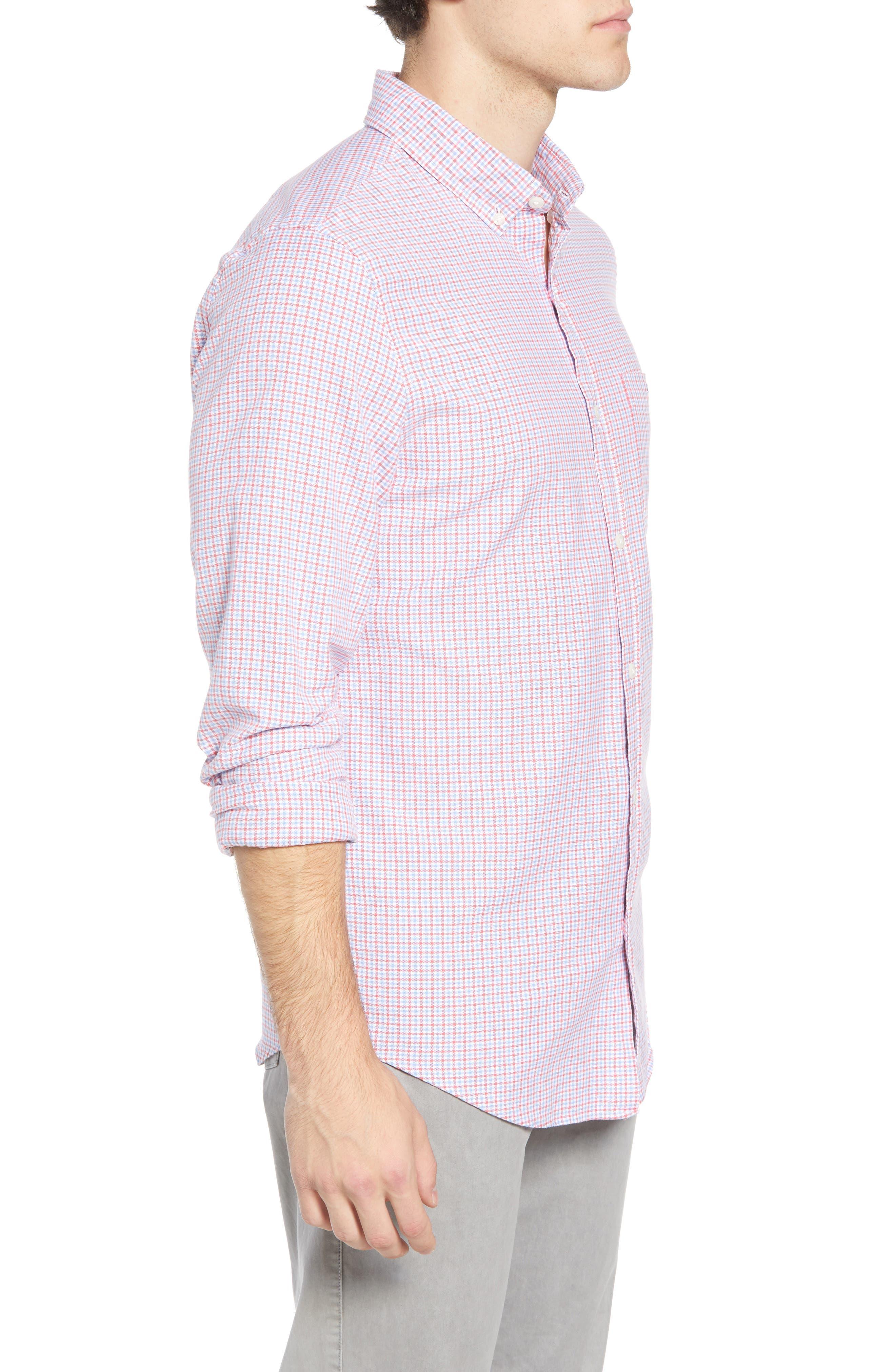Slim Tucker 2 Check Sport Shirt,                             Alternate thumbnail 4, color,                             SAILORS RED
