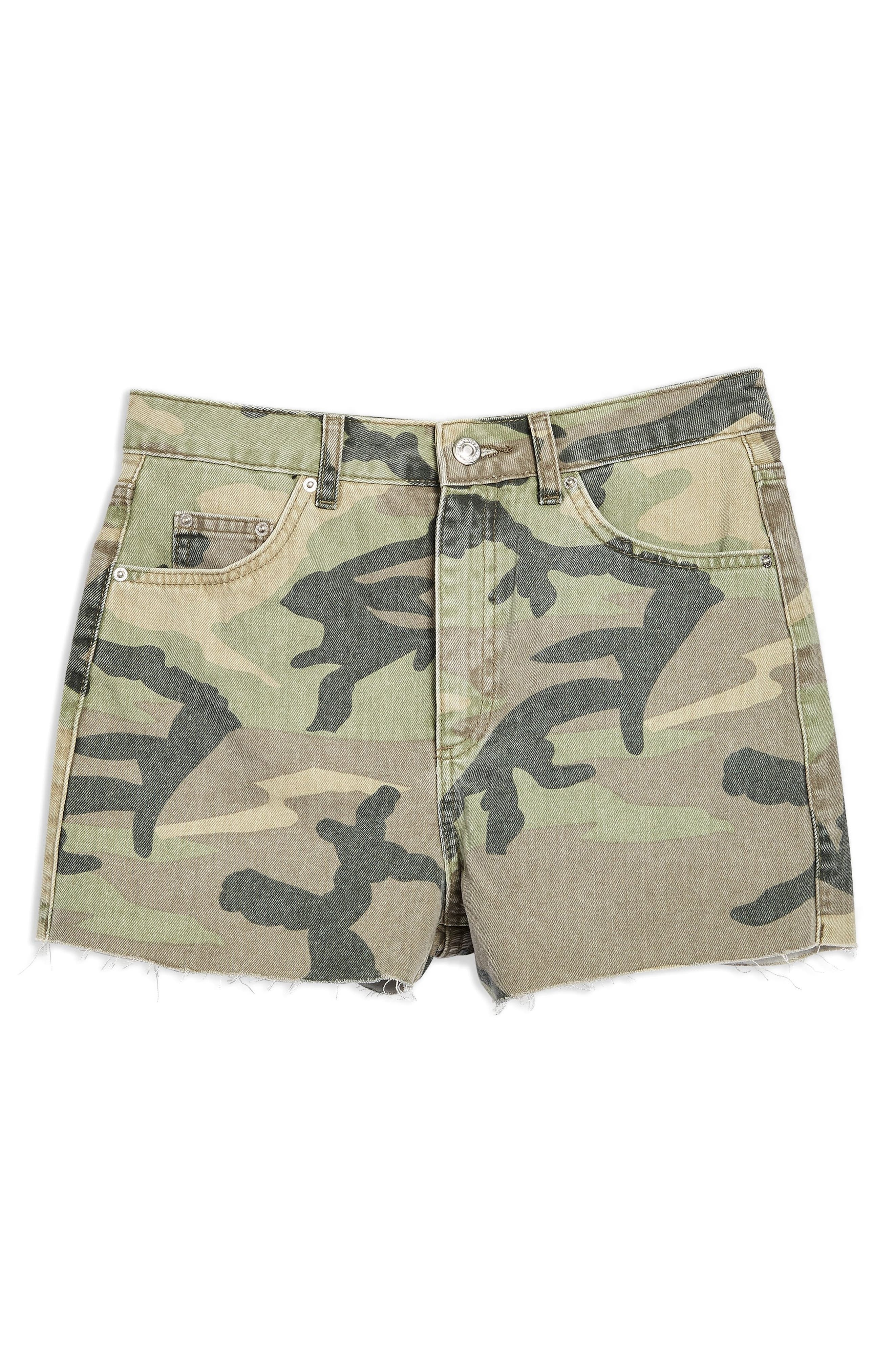 TOPSHOP,                             Camo Denim Mom Shorts,                             Alternate thumbnail 6, color,                             300