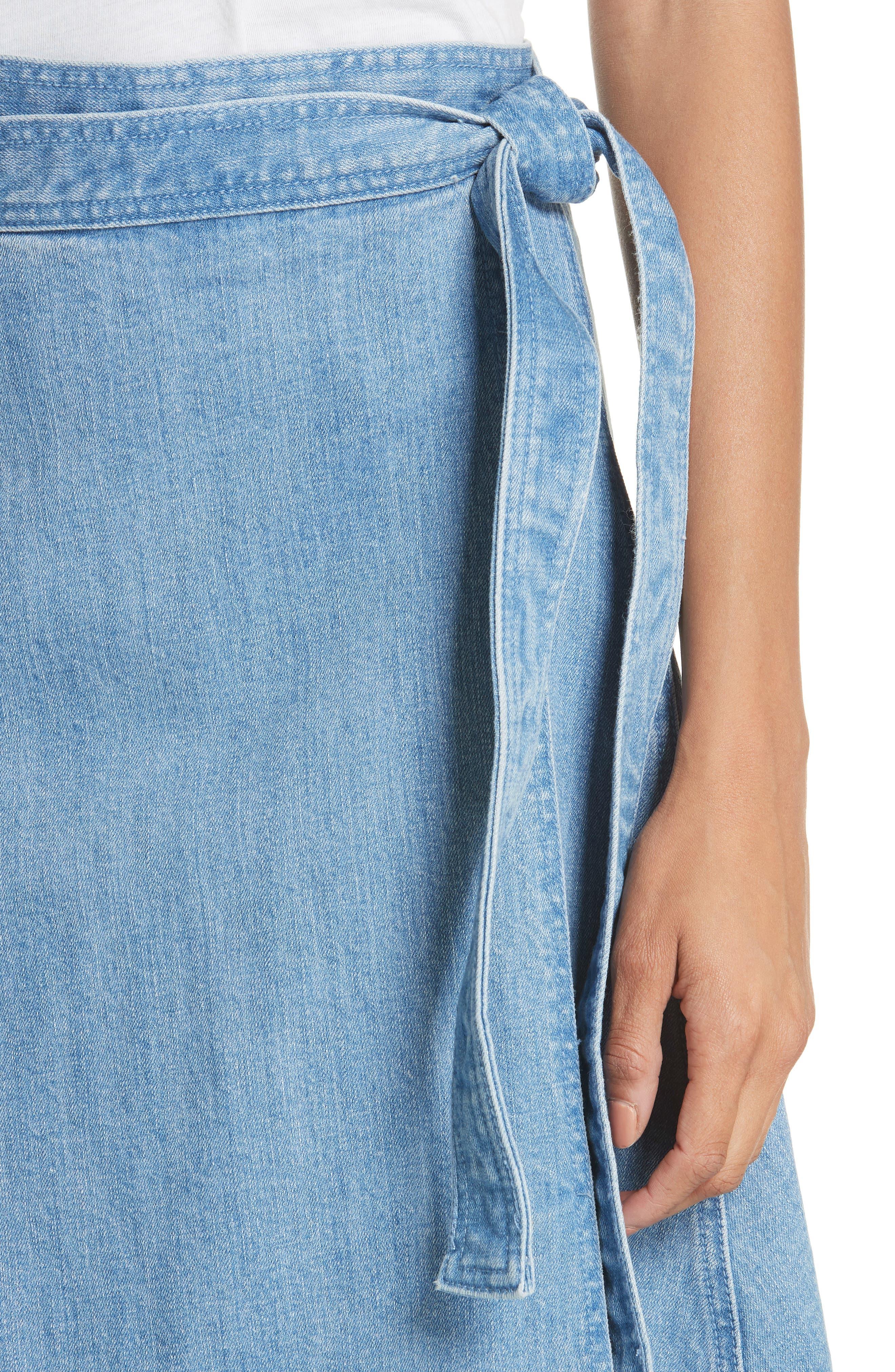 vintage stretch denim wrap skirt,                             Alternate thumbnail 4, color,                             429