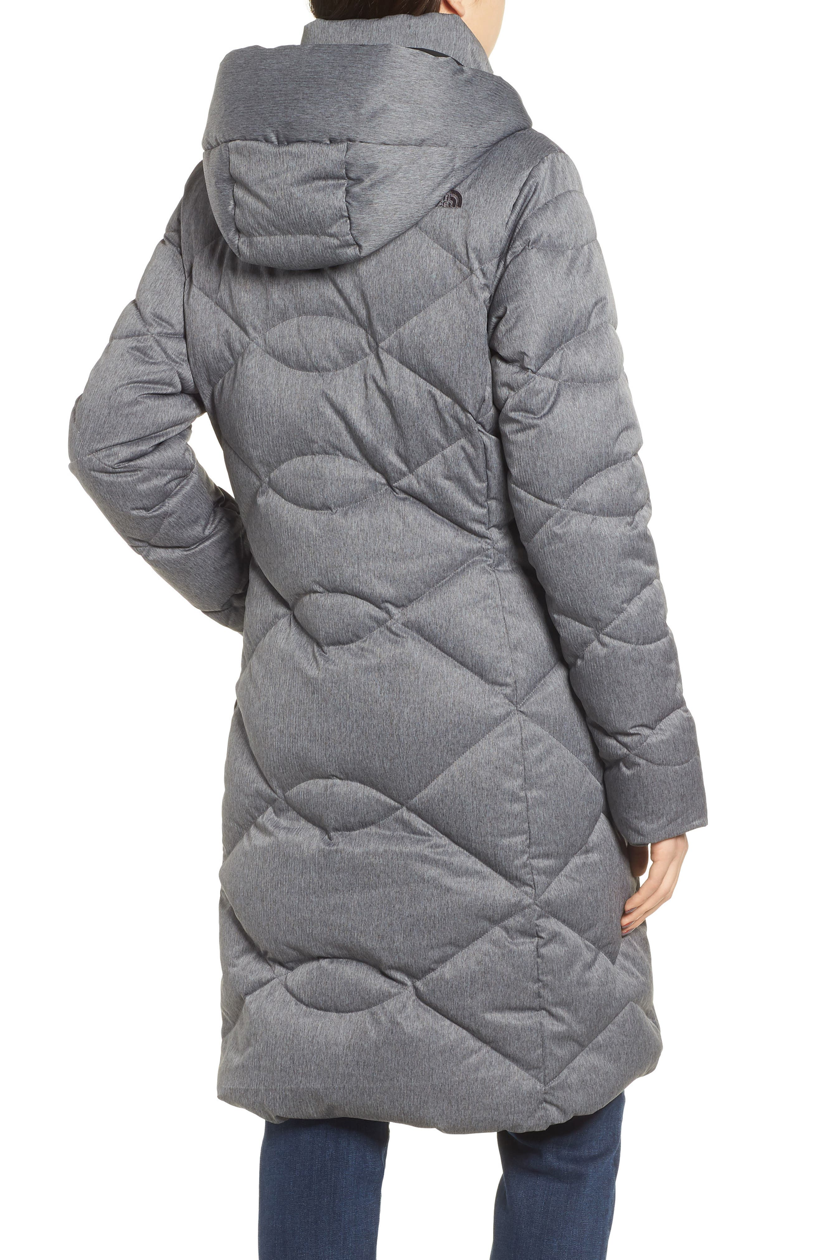 Miss Metro II Water Repellent 550 Fill Power Down Hooded Parka,                             Alternate thumbnail 3, color,                             TNF DARK GREY HEATHER