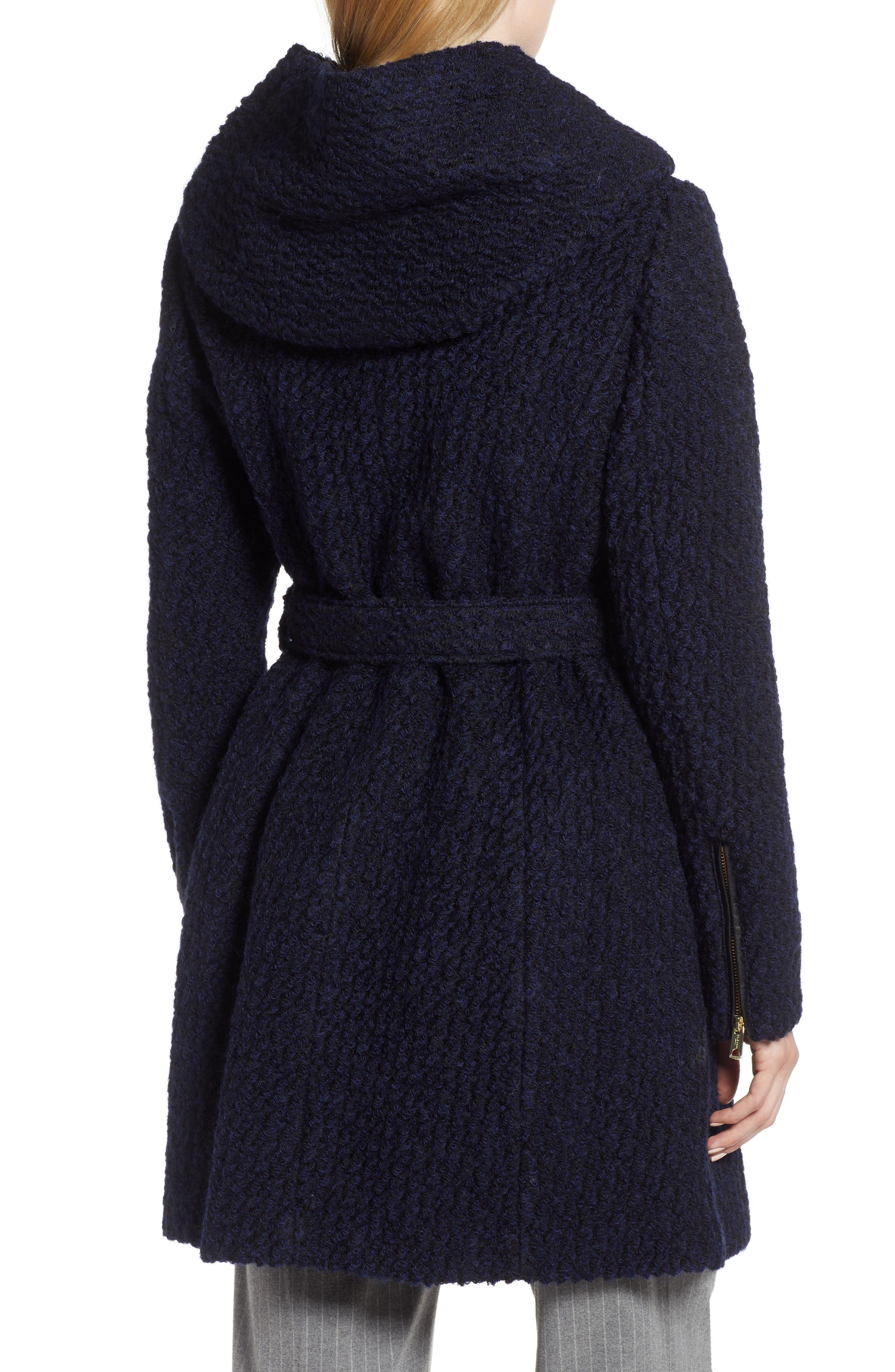 Belted Bouclé Wool Blend Coat,                             Alternate thumbnail 2, color,                             BLACK/ NAVY
