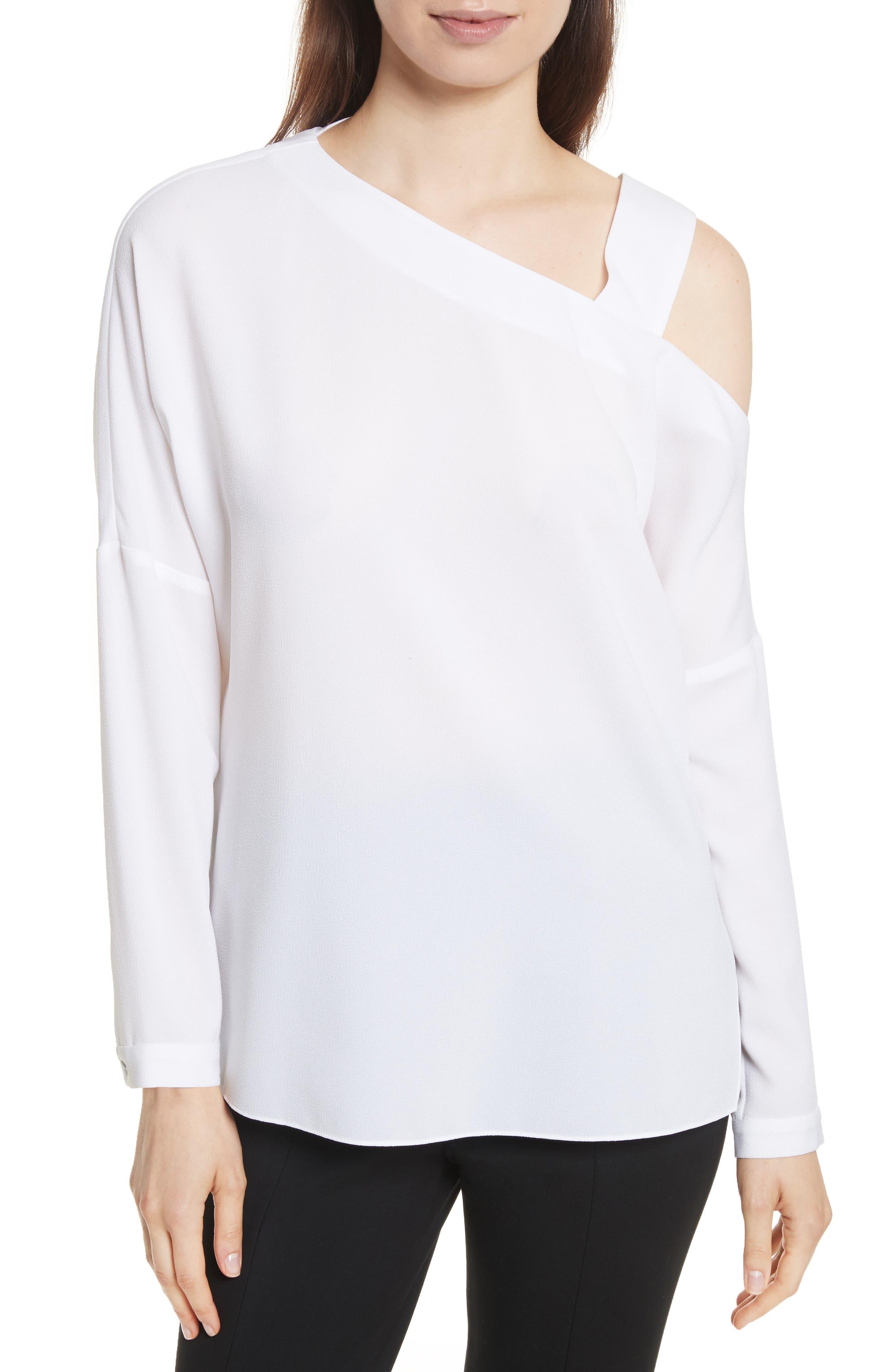 Cutout Shoulder Crepe Top,                         Main,                         color,