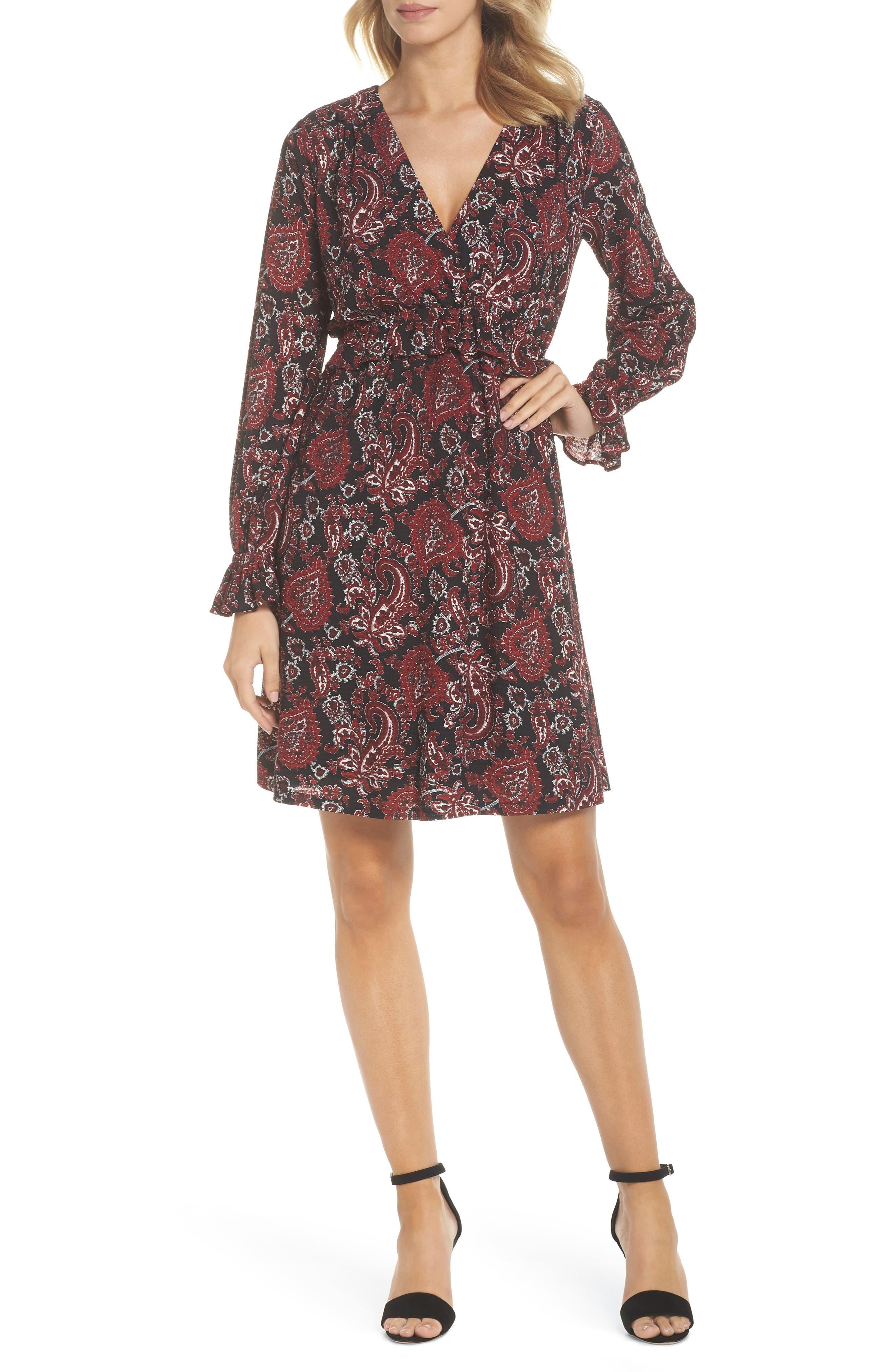 Shirred Ruffle Sleeve Dress,                         Main,                         color, 649