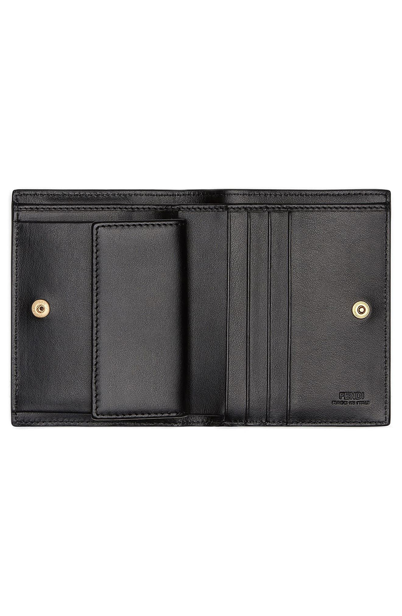Logo Small Leather French Wallet,                             Alternate thumbnail 2, color,                             NERO/ ORO SOFT