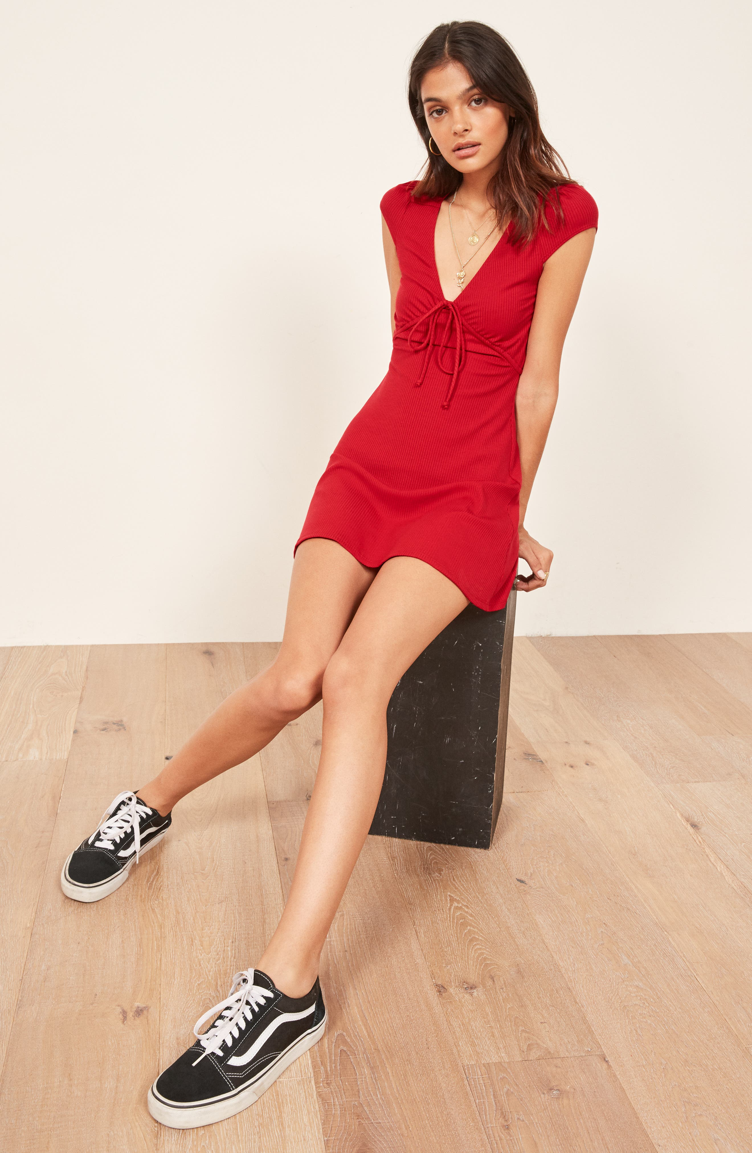 Margie Ribbed Fit & Flare Minidress,                             Alternate thumbnail 2, color,                             CHERRY