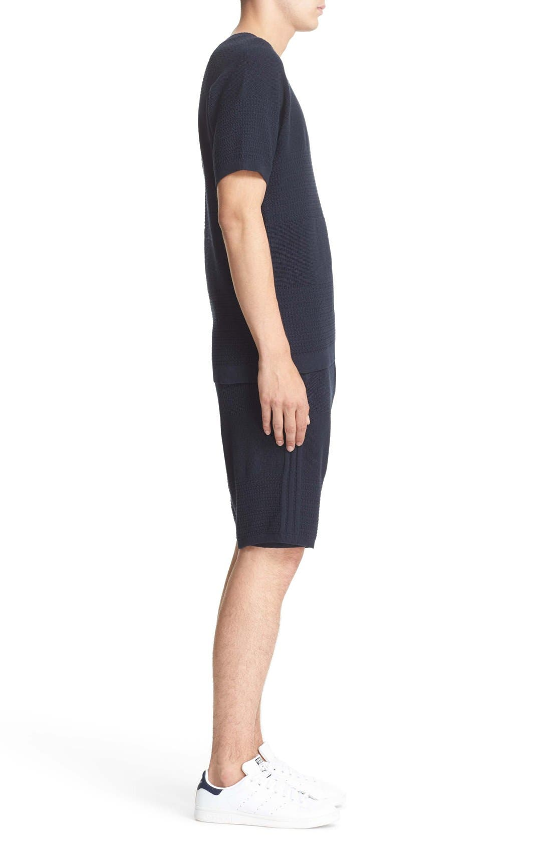 Linear Texture Knit Shorts,                             Alternate thumbnail 3, color,                             410