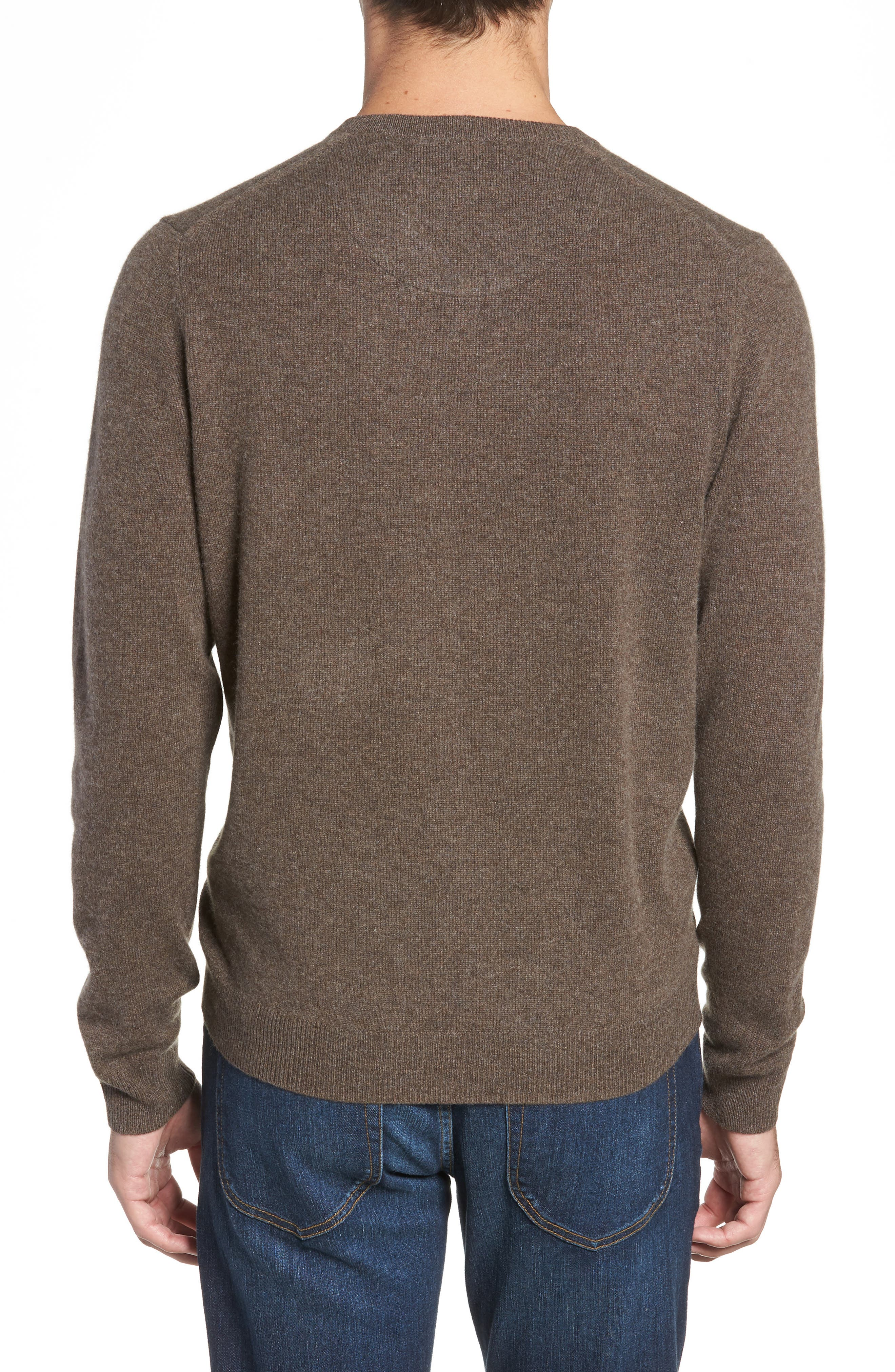 Cashmere V-Neck Sweater,                             Alternate thumbnail 2, color,                             BROWN FAWN