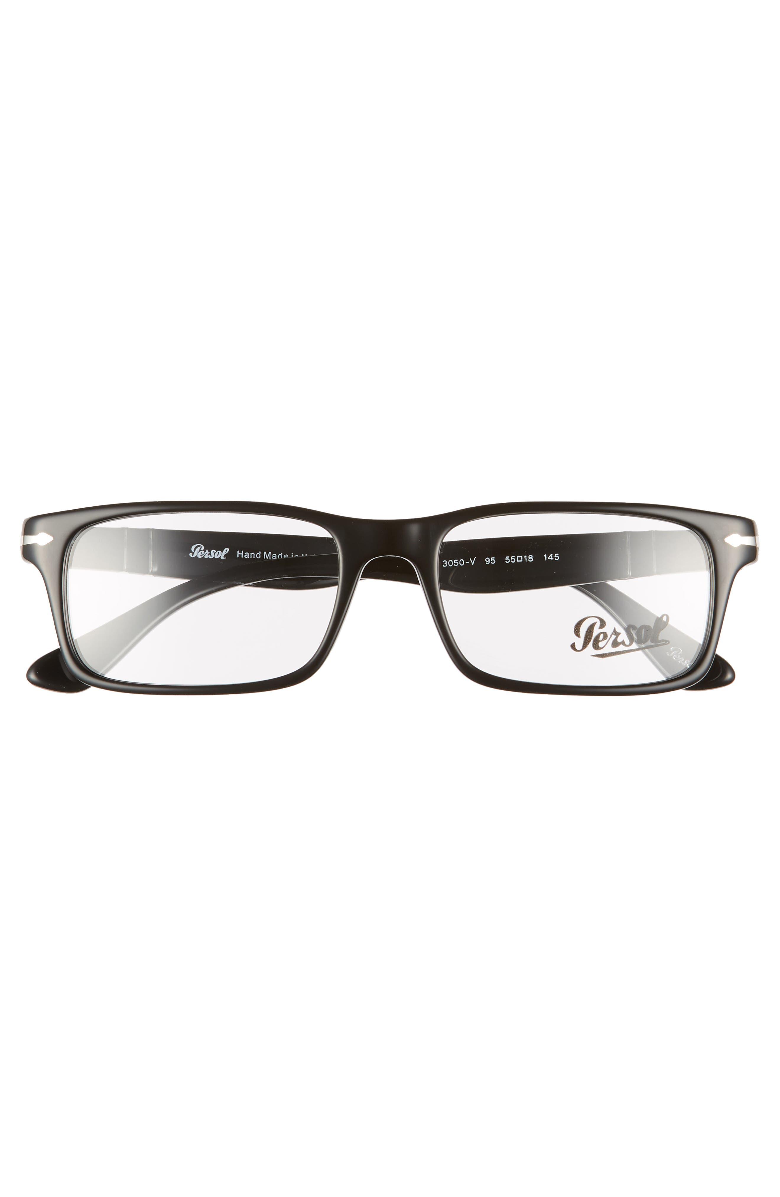 55mm Rectangle Optical Glasses,                             Alternate thumbnail 3, color,                             BLACK