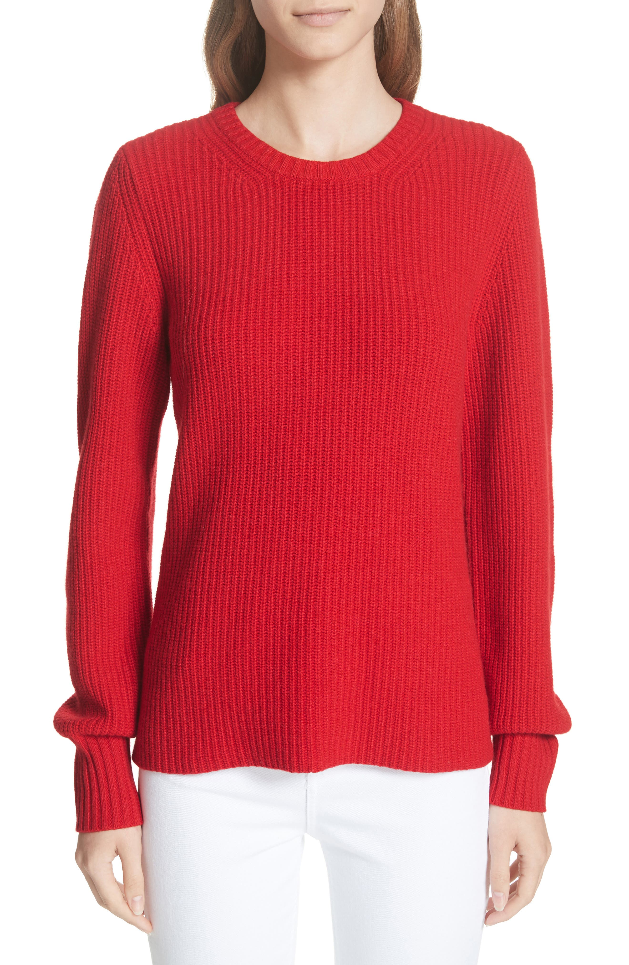 Kennedy Shaker Stitch Sweater,                             Main thumbnail 1, color,                             TRUE RED