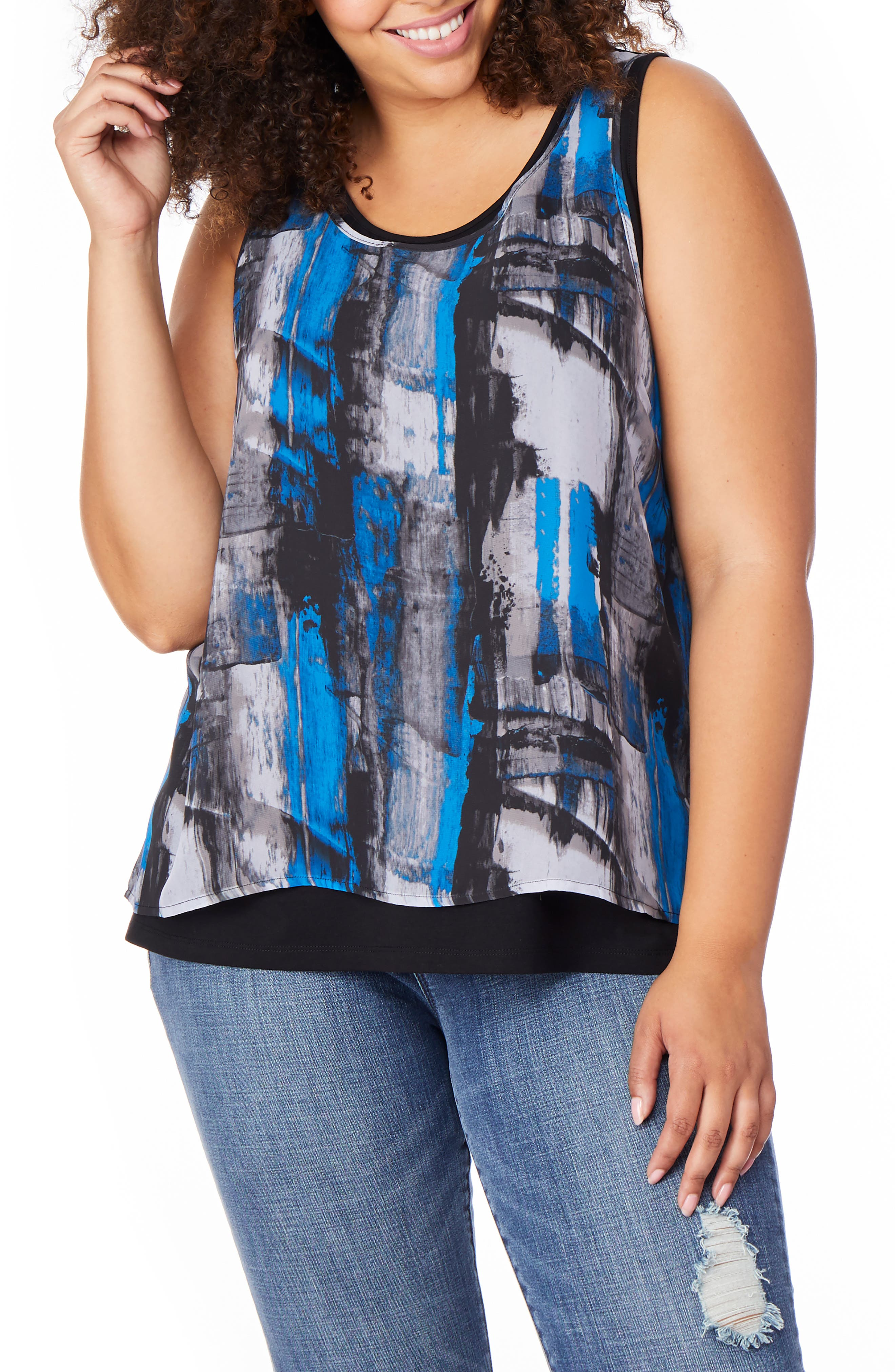 Print Overlay Tank,                             Main thumbnail 1, color,                             PAINTED GRAPHITE W/ BLACK