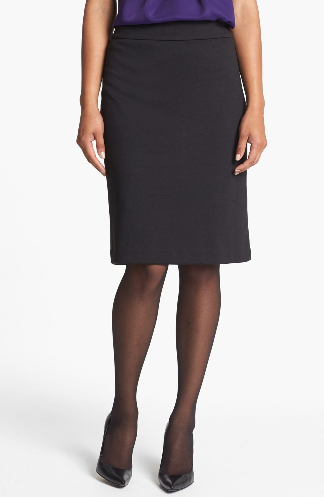 JONES NEW YORK,                             'Lucy' Ponte Knit Pencil Skirt,                             Main thumbnail 1, color,                             001
