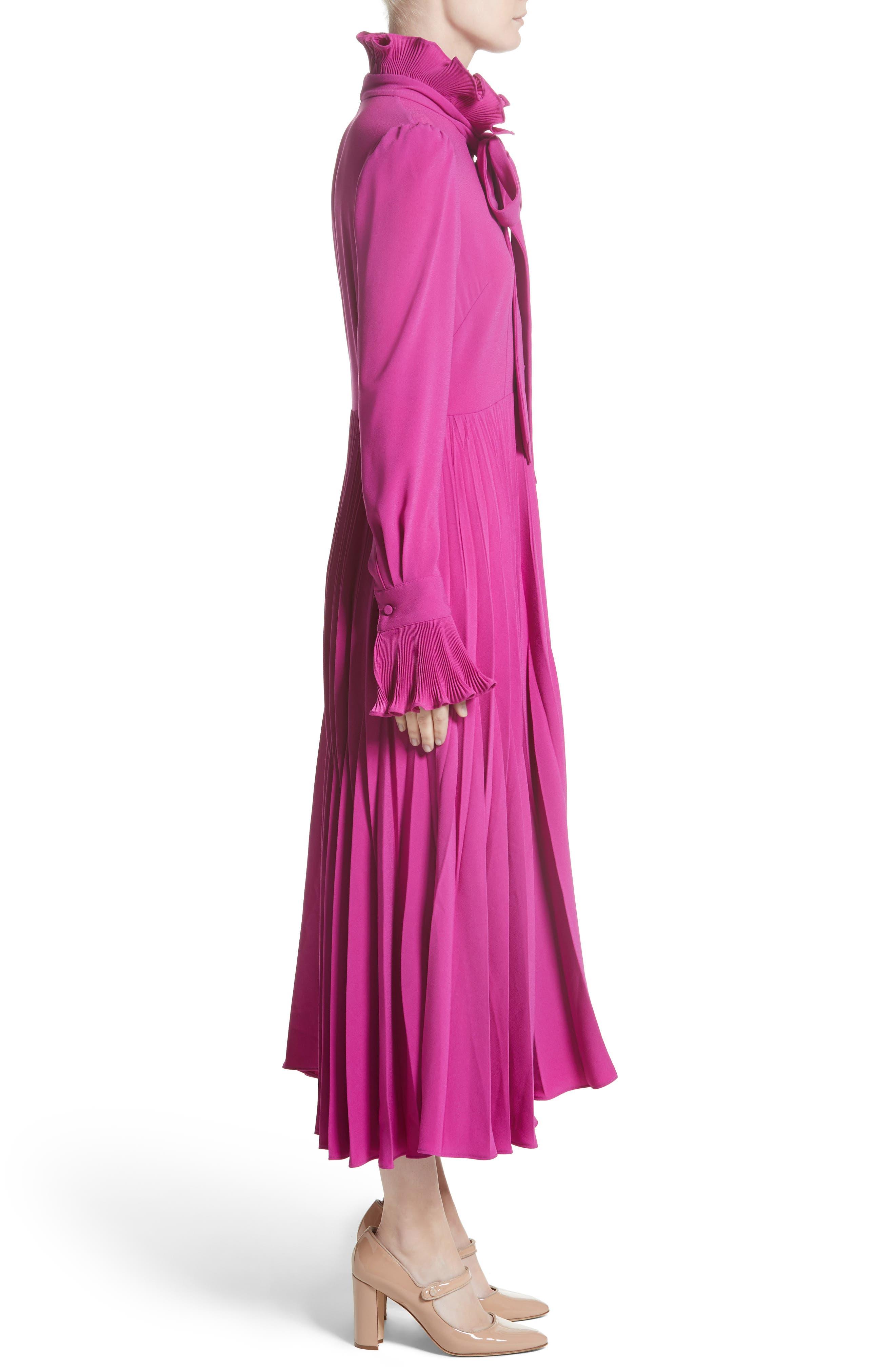 Ruffle & Pleated Midi Dress,                             Alternate thumbnail 3, color,                             651