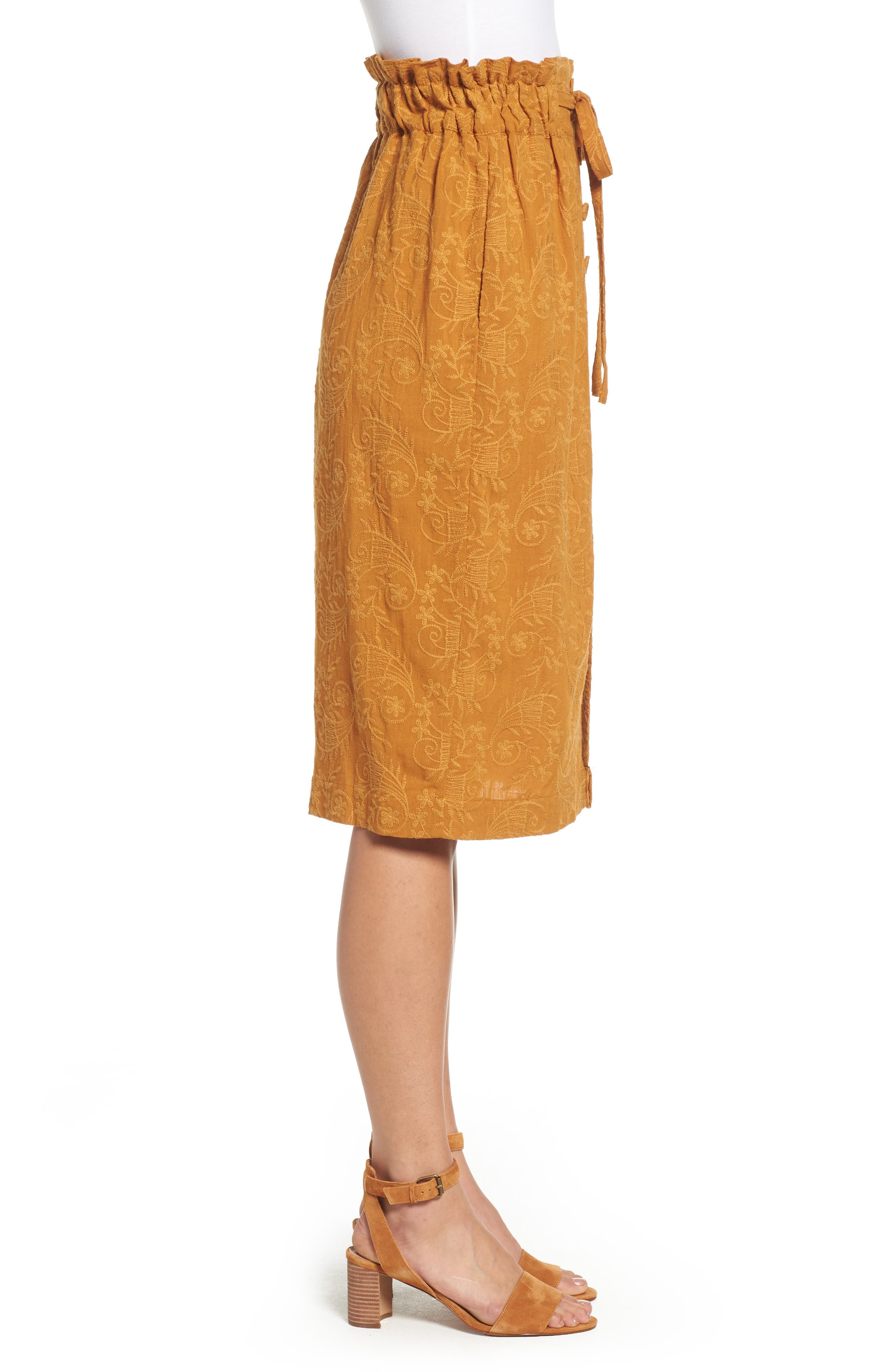 Embroidered Paperbag Waist Skirt,                             Alternate thumbnail 3, color,                             700