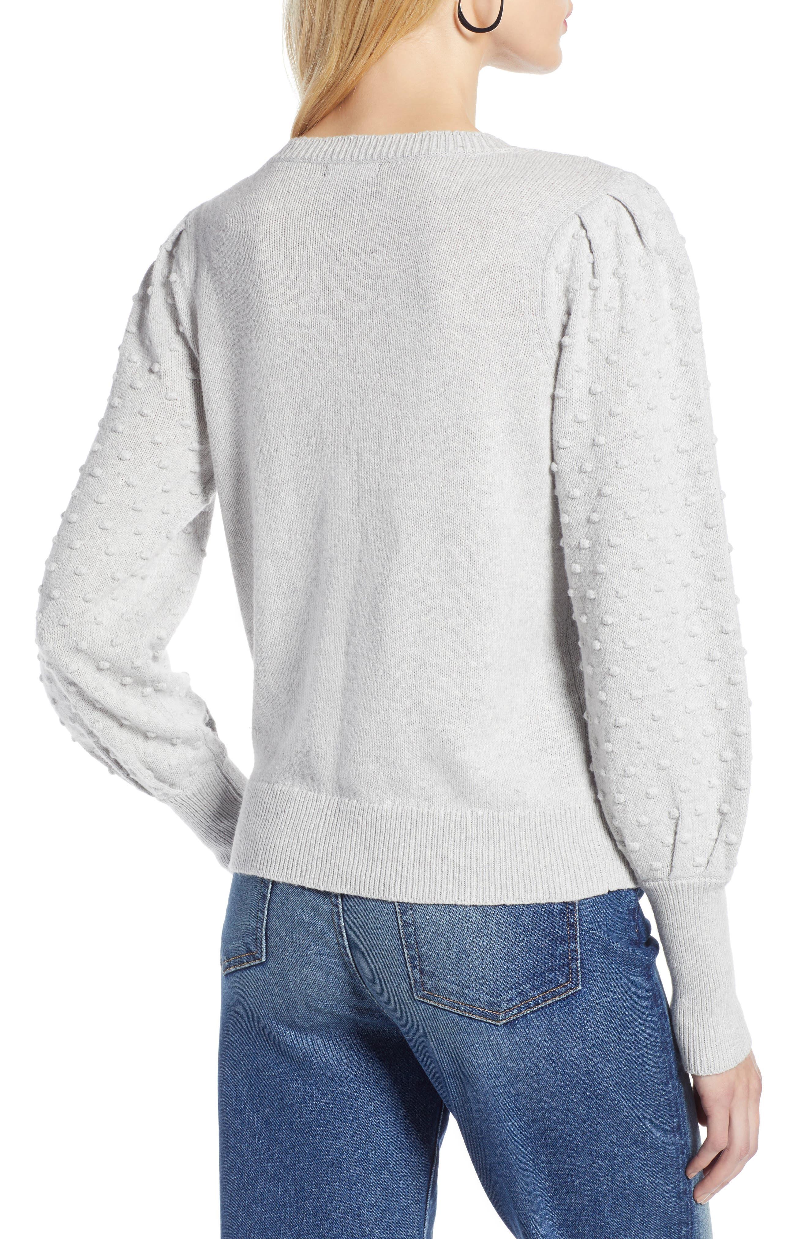 Bobble Stitch Sweater,                             Alternate thumbnail 2, color,                             GREY LIGHT HEATHER