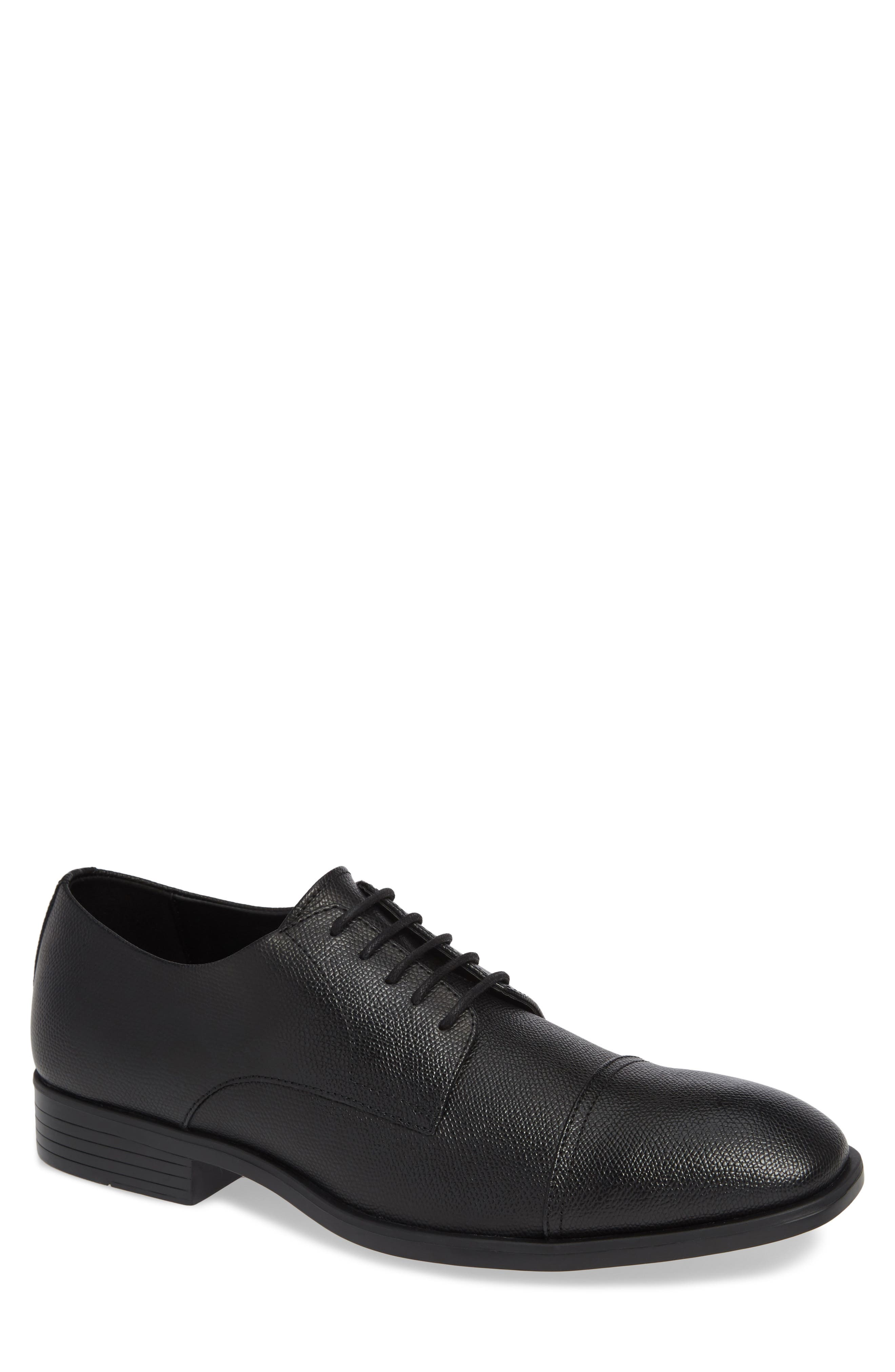 Connor Cap Toe Derby,                         Main,                         color, BLACK LEATHER