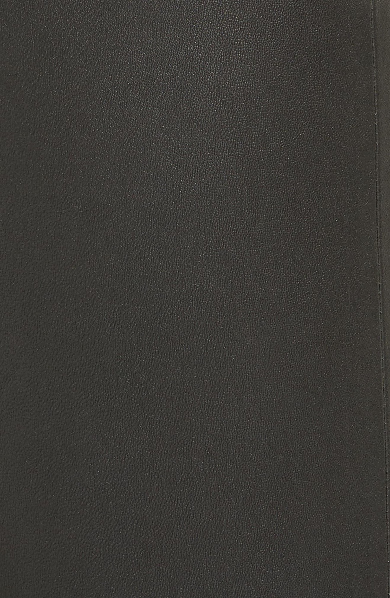 Five Pocket Leather Skinny Pants,                             Alternate thumbnail 5, color,                             POLO BLACK