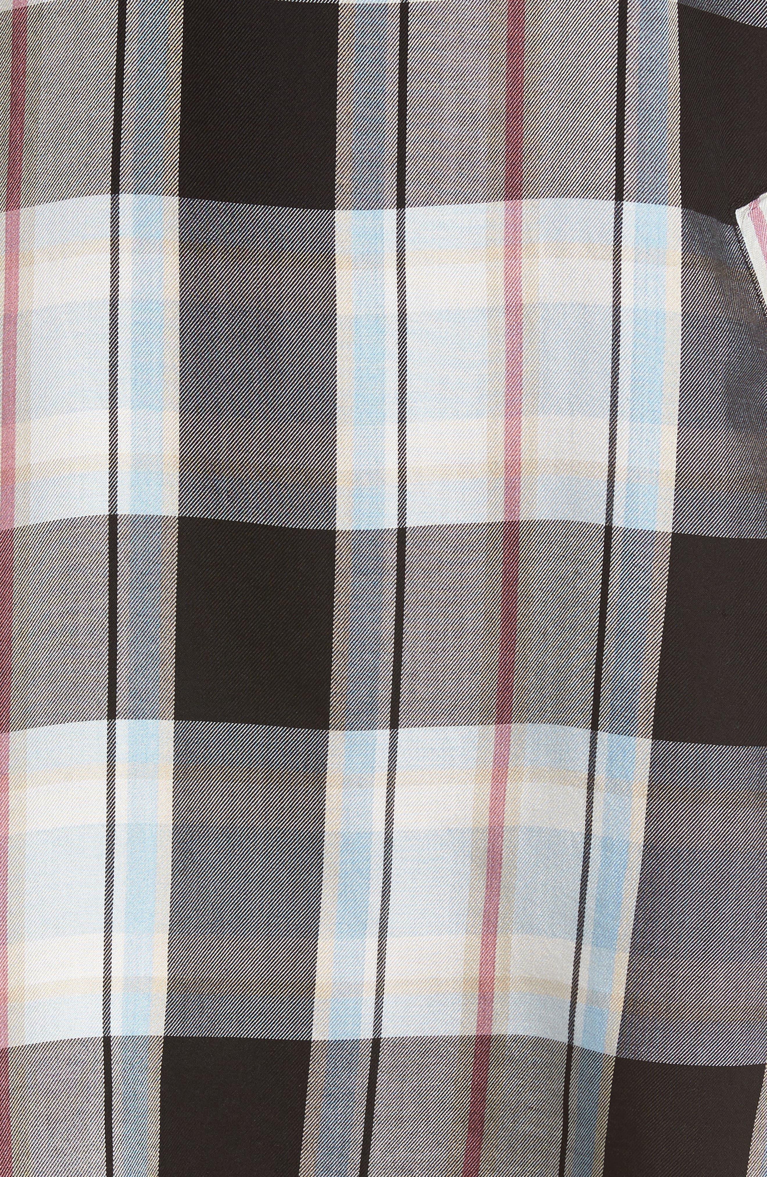 Off the Shoulder Plaid Shift Dress,                             Alternate thumbnail 5, color,                             001