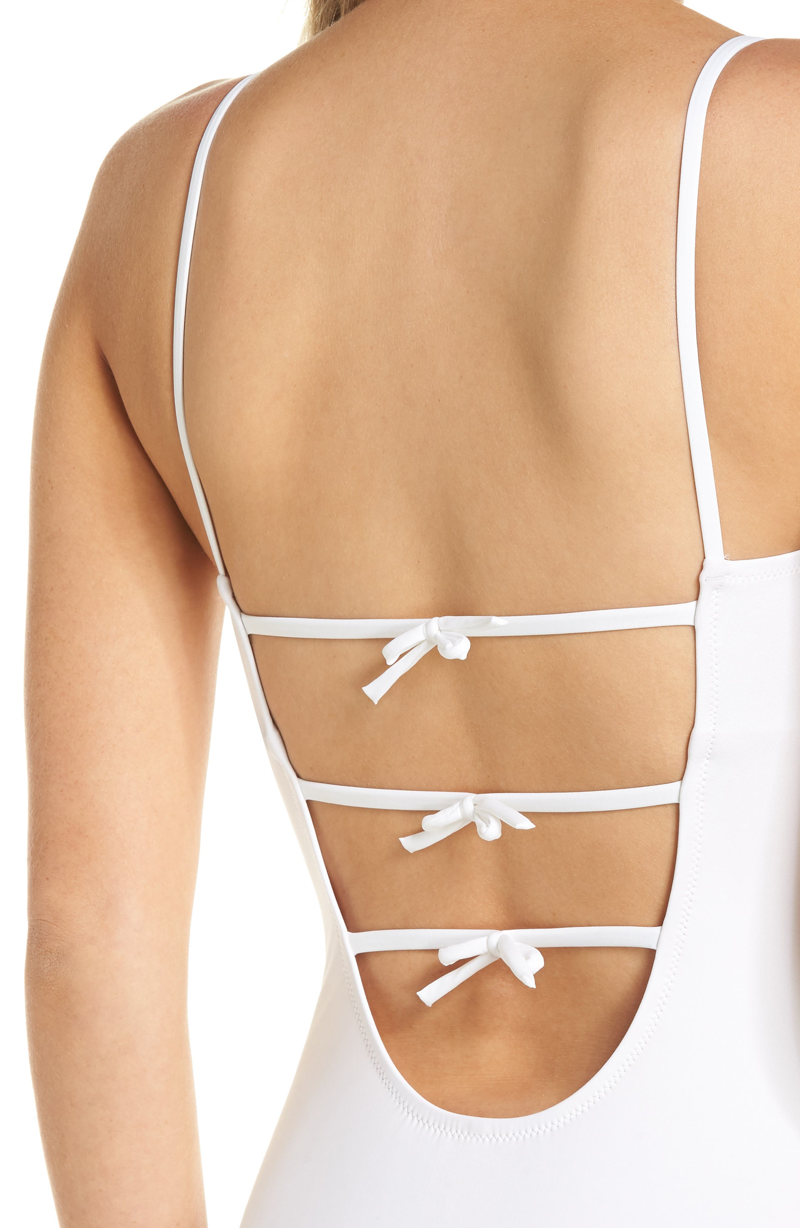 Maggie Baby Bow Back One-Piece Swimsuit,                             Alternate thumbnail 4, color,                             WHITE