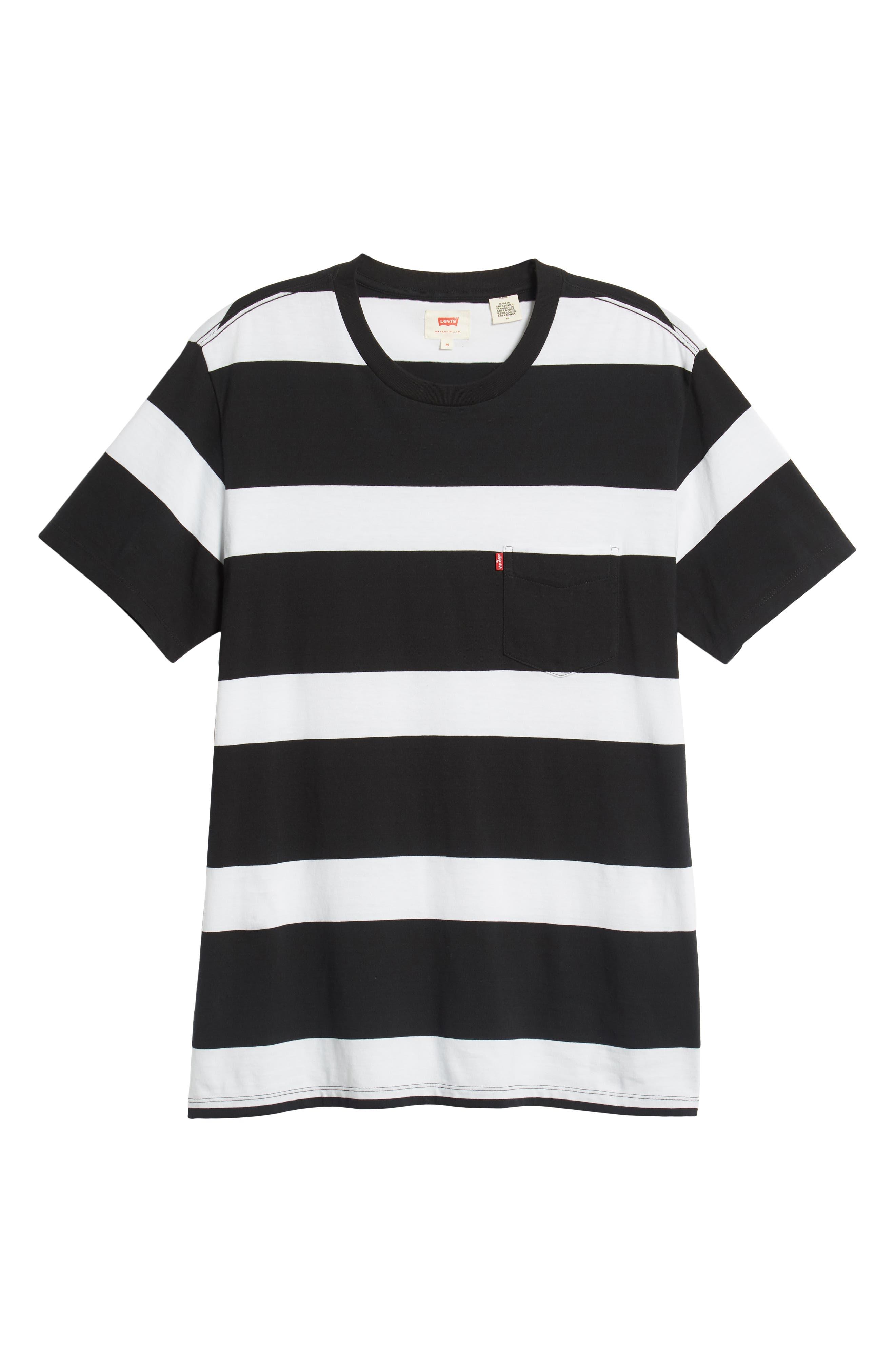 Pocket T-Shirt,                             Alternate thumbnail 6, color,                             BLACK/ WHITE STRIPES