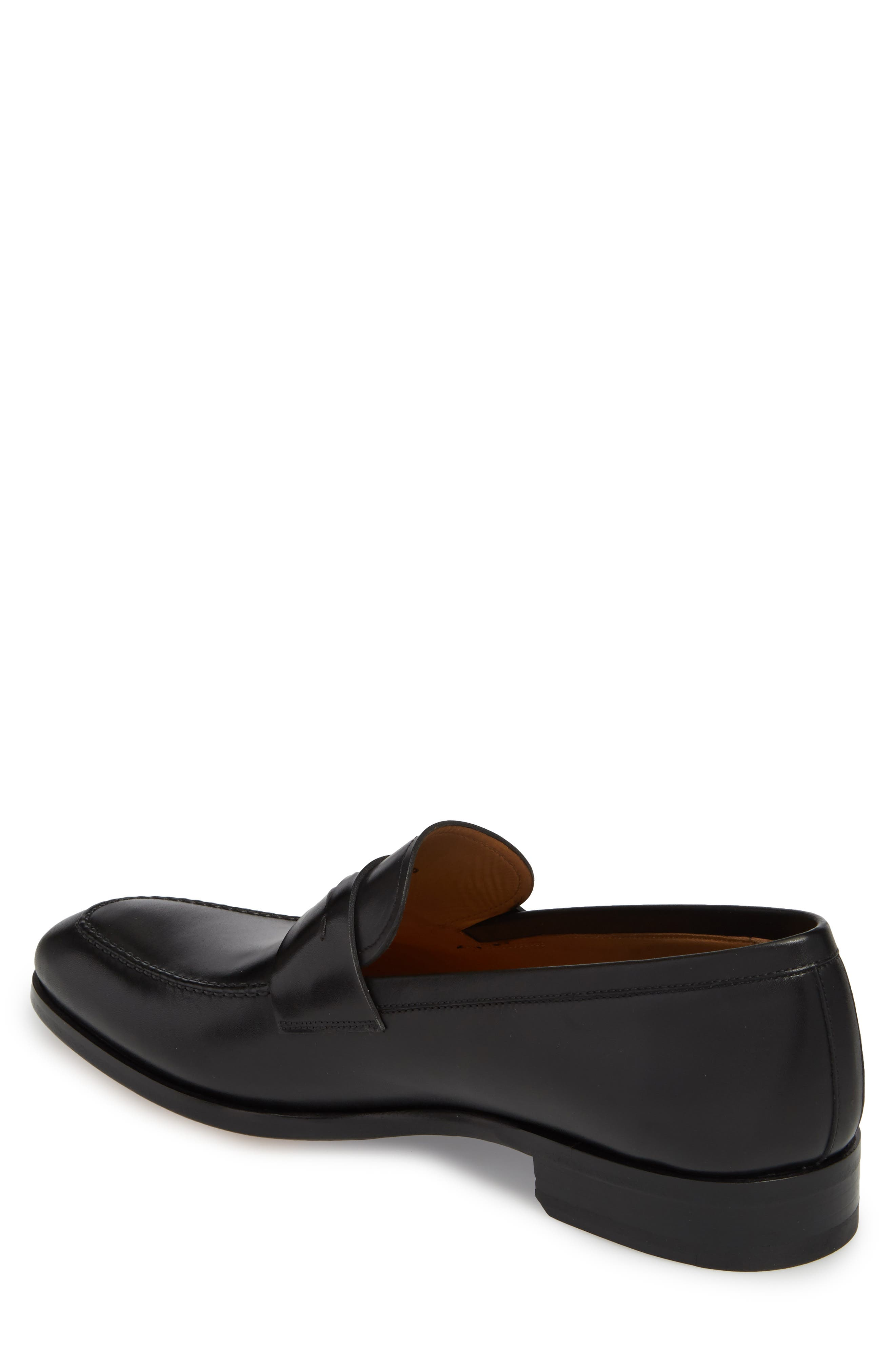 Rolly Apron Toe Penny Loafer,                             Alternate thumbnail 2, color,                             BLACK LEATHER