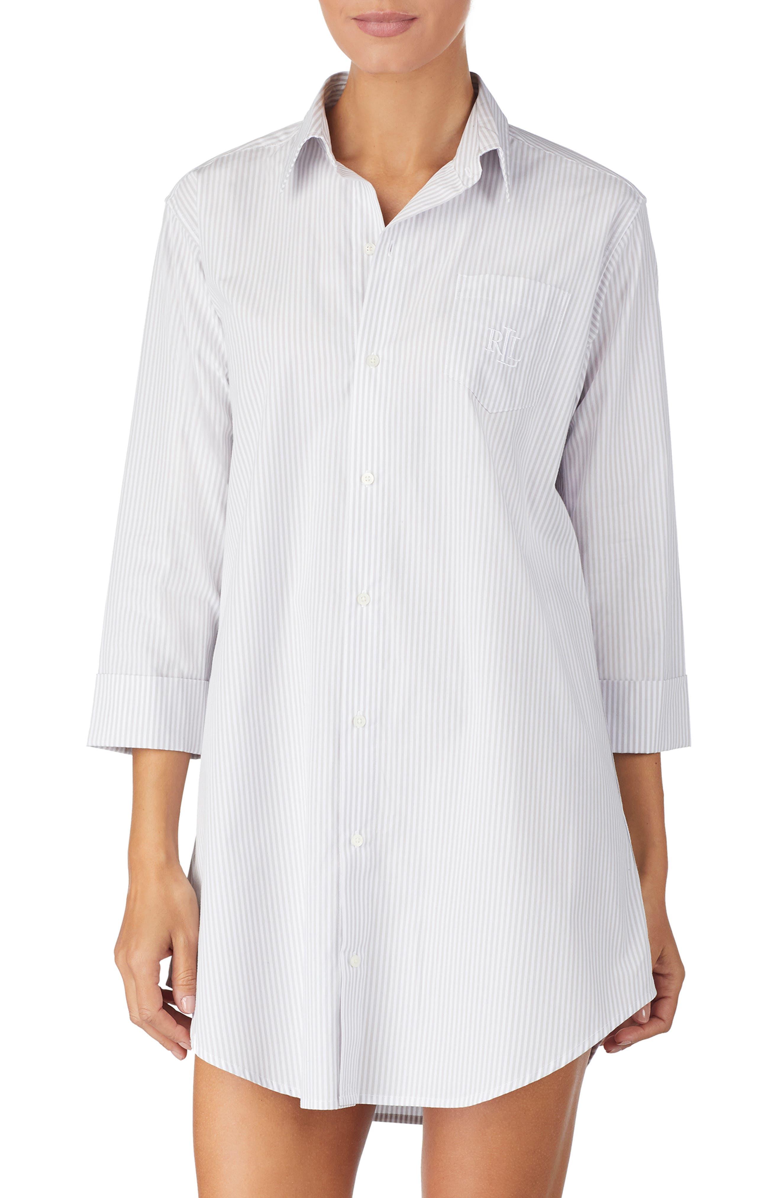 LAUREN RALPH LAUREN Cotton Poplin Sleep Shirt, Main, color, GREY