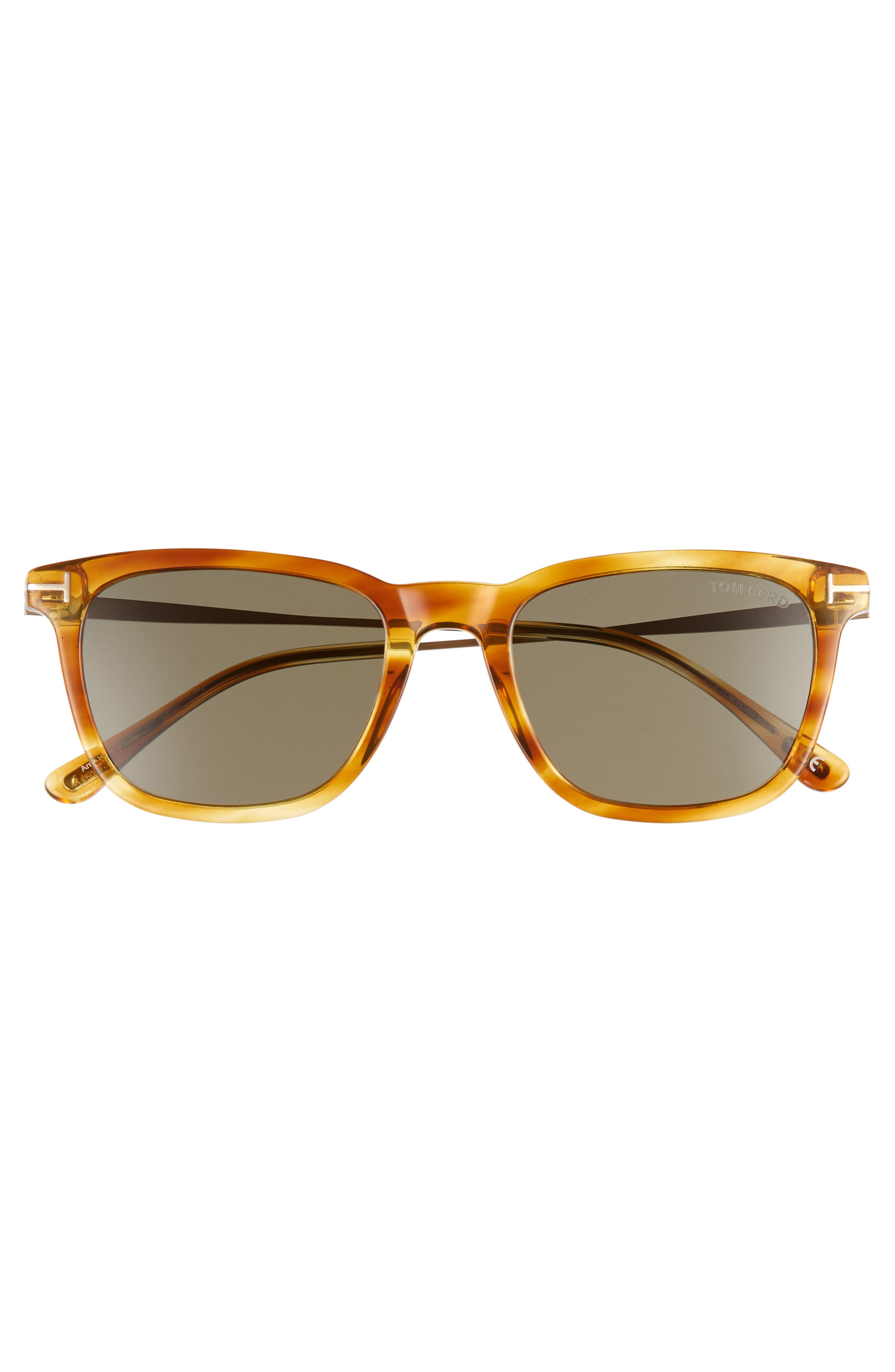 53mm Rectangle Sunglasses,                             Alternate thumbnail 3, color,                             LIGHT BROWN/ SMOKE