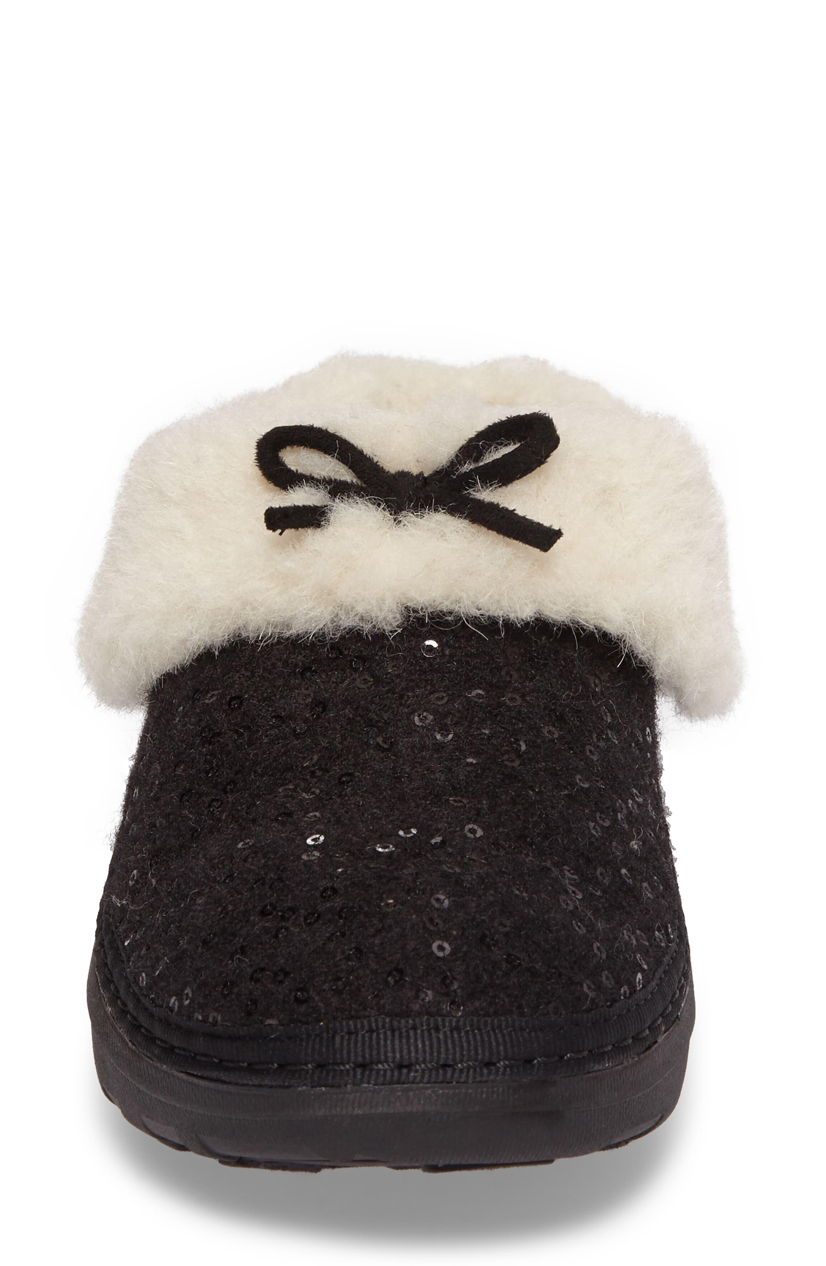 Loaff Snug Sequin Slipper,                             Alternate thumbnail 4, color,                             001