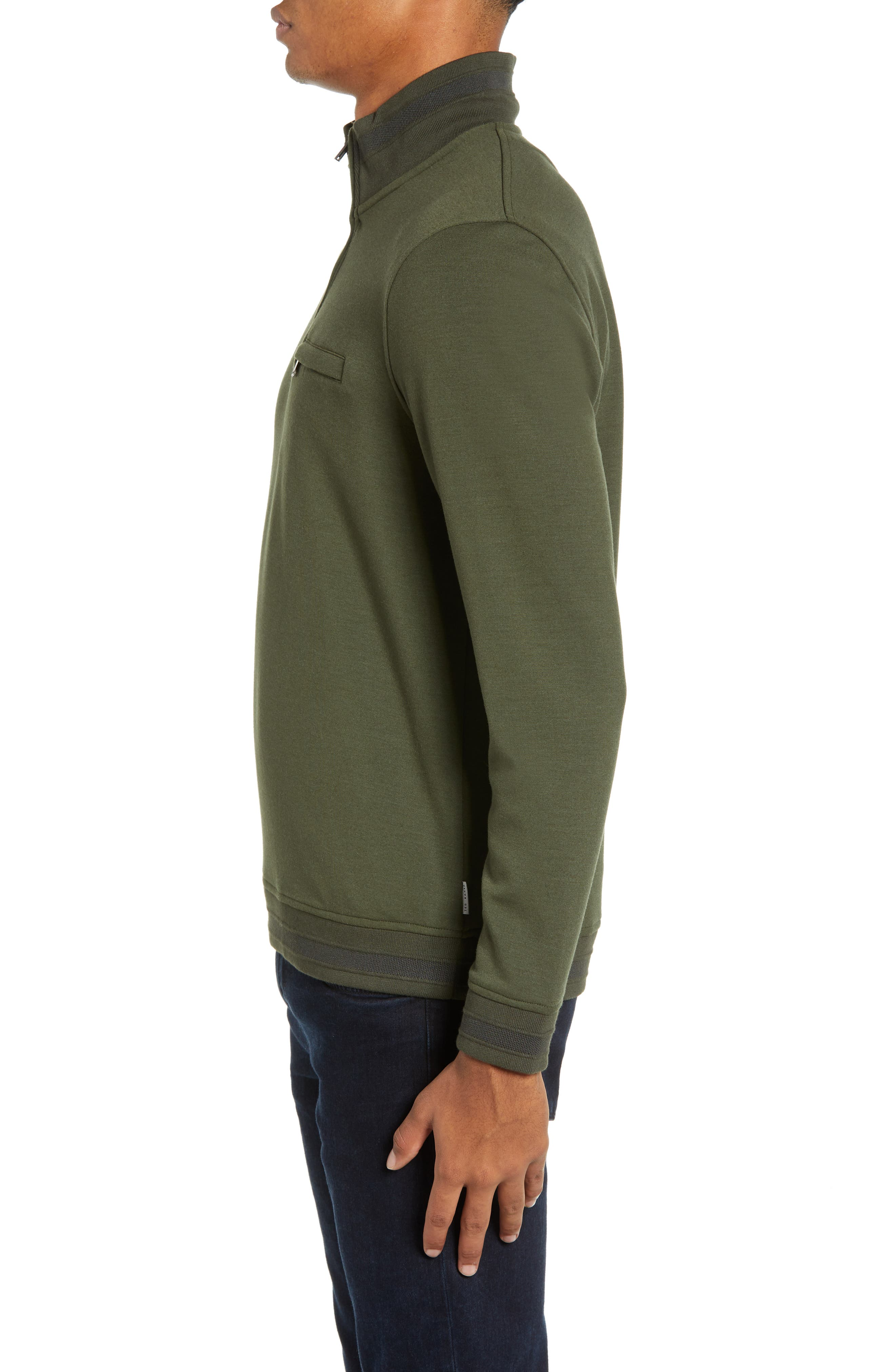Leevit Quarter Zip Pullover,                             Alternate thumbnail 3, color,                             KHAKI