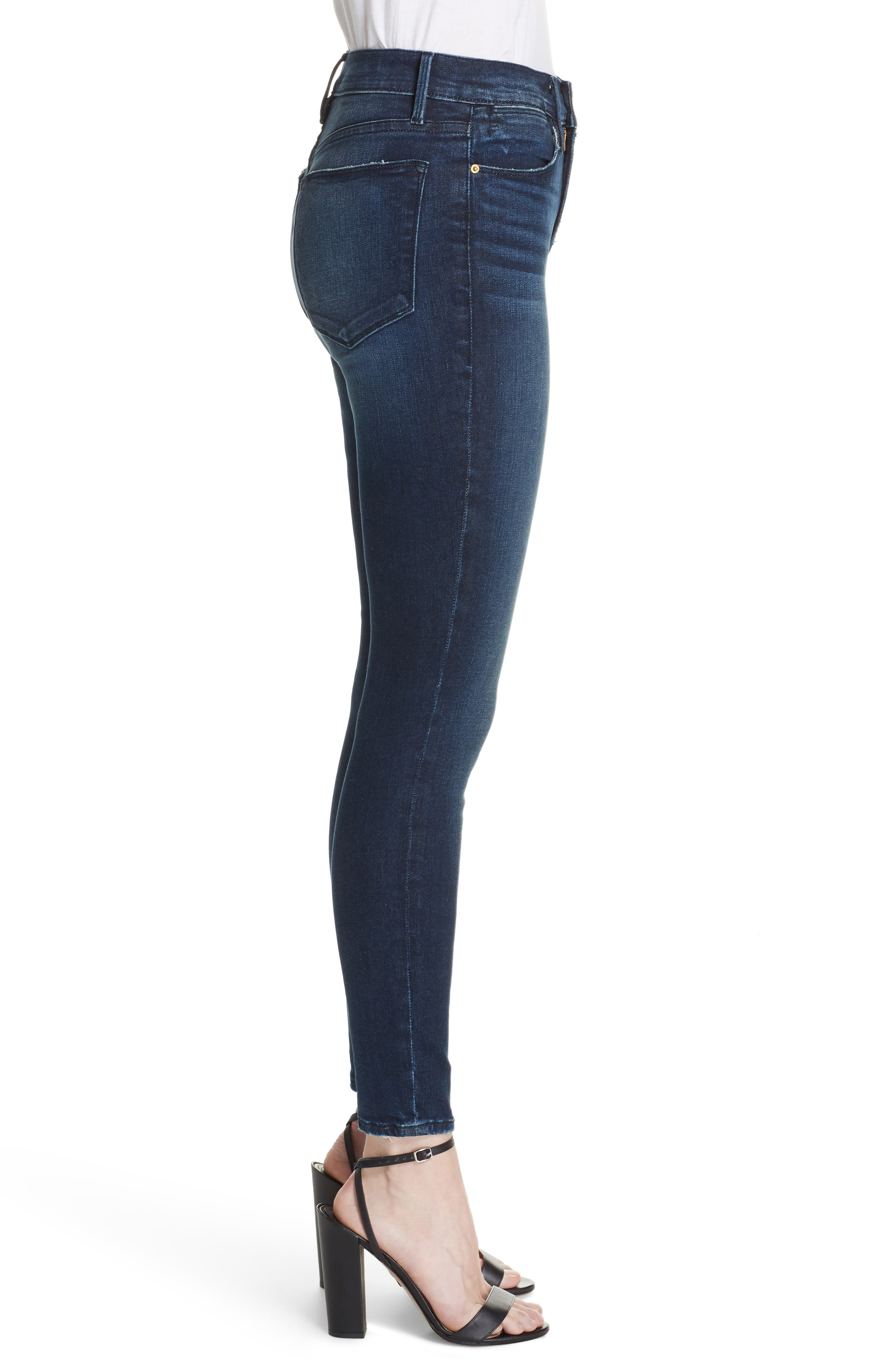 Le High Distressed Skinny Jeans,                             Alternate thumbnail 3, color,                             SWANK