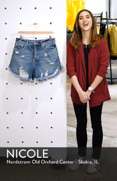 The Bombshell High Waist Cutoff Petal Hem Denim Shorts, sales video thumbnail