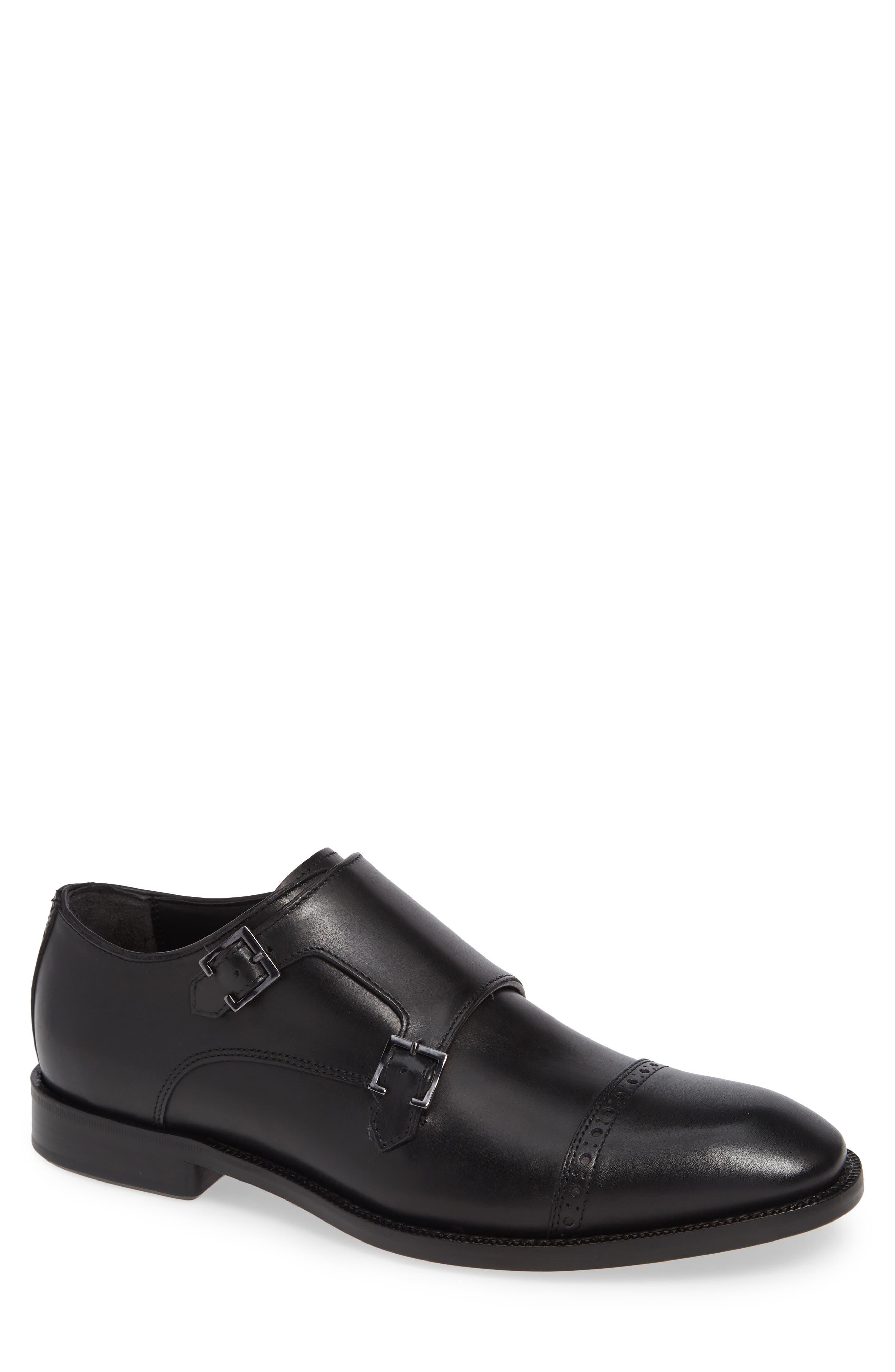 Caravaggio Double Monk Strap Shoe,                         Main,                         color, BLACK LEATHER