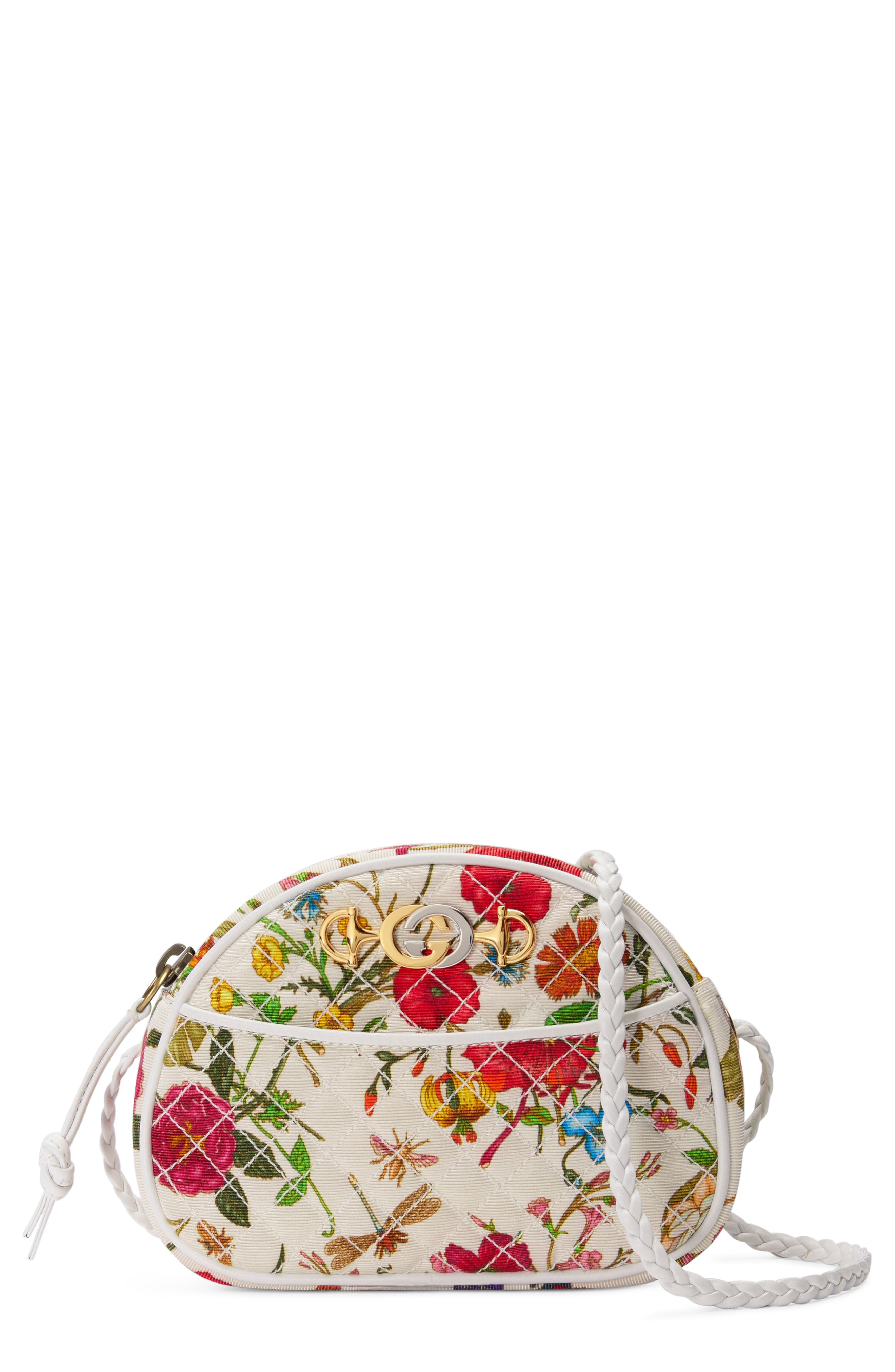 Quilted Floral Print Dome Crossbody Bag,                             Main thumbnail 1, color,                             WHITE MULTI
