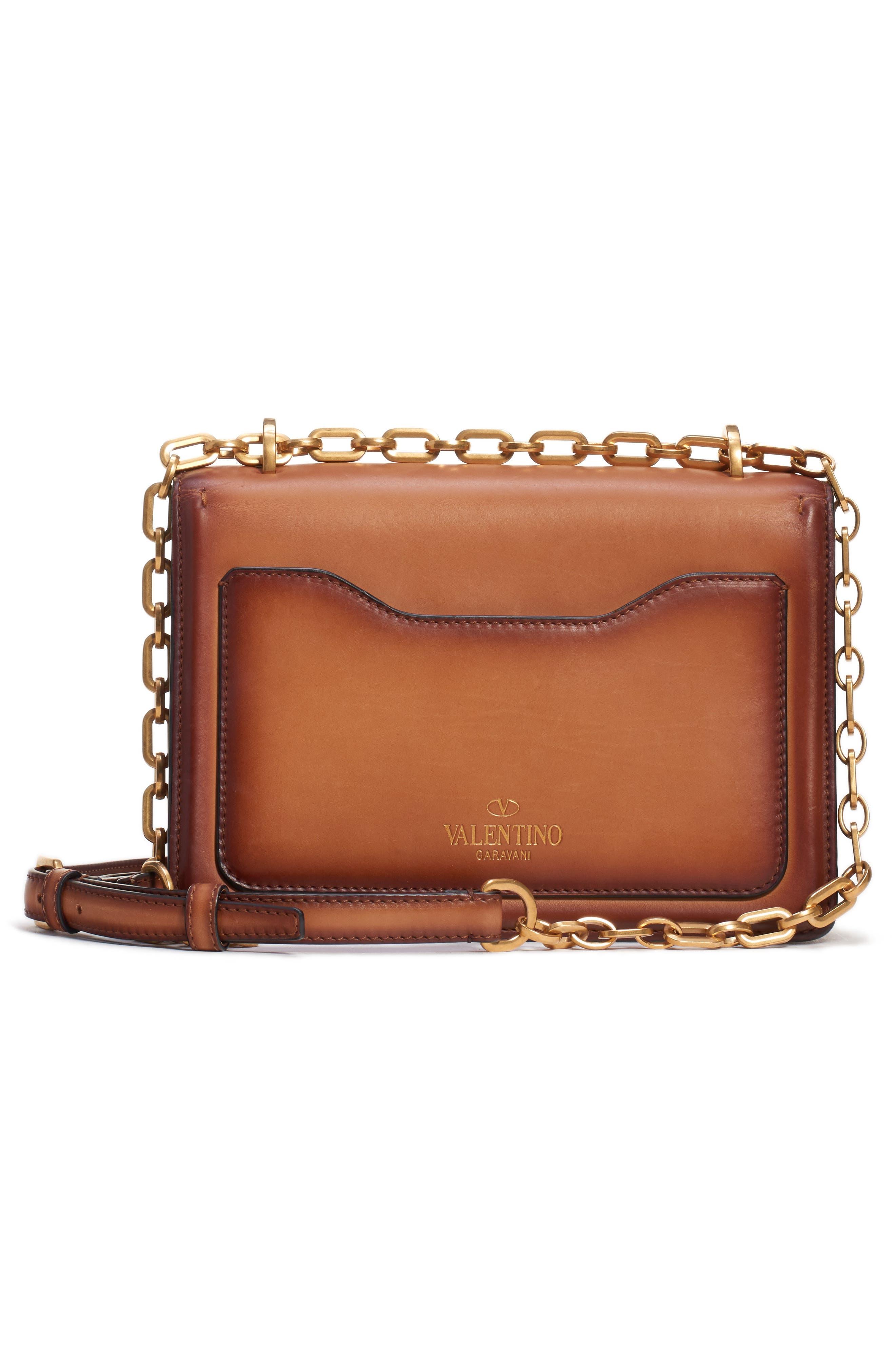 VALENTINO GARAVANI,                             Small Uptown Leather Shoulder Bag,                             Alternate thumbnail 2, color,                             BRIGHT COGNAC