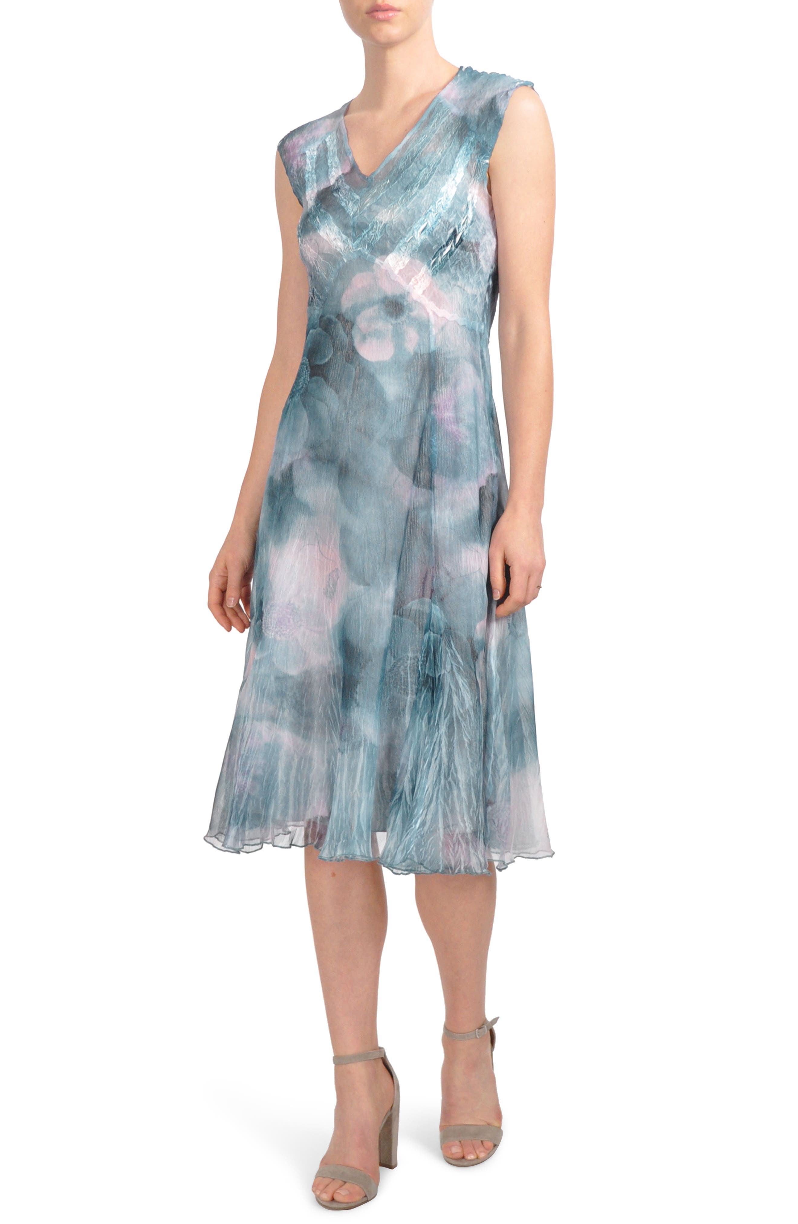 Print Chiffon A-Line Midi Dress,                             Main thumbnail 1, color,