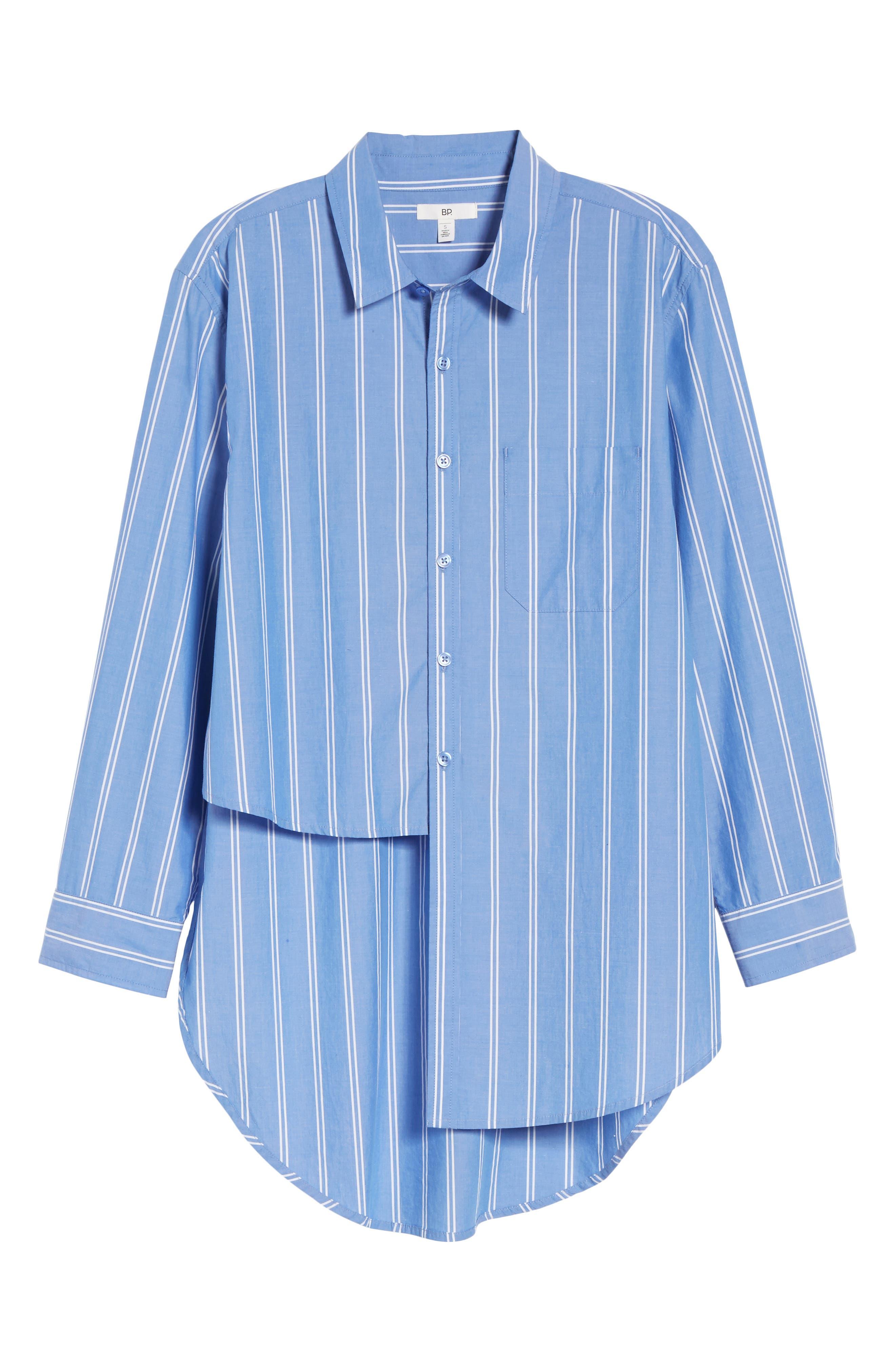 Stripe Step Hem Shirt,                             Alternate thumbnail 6, color,                             450