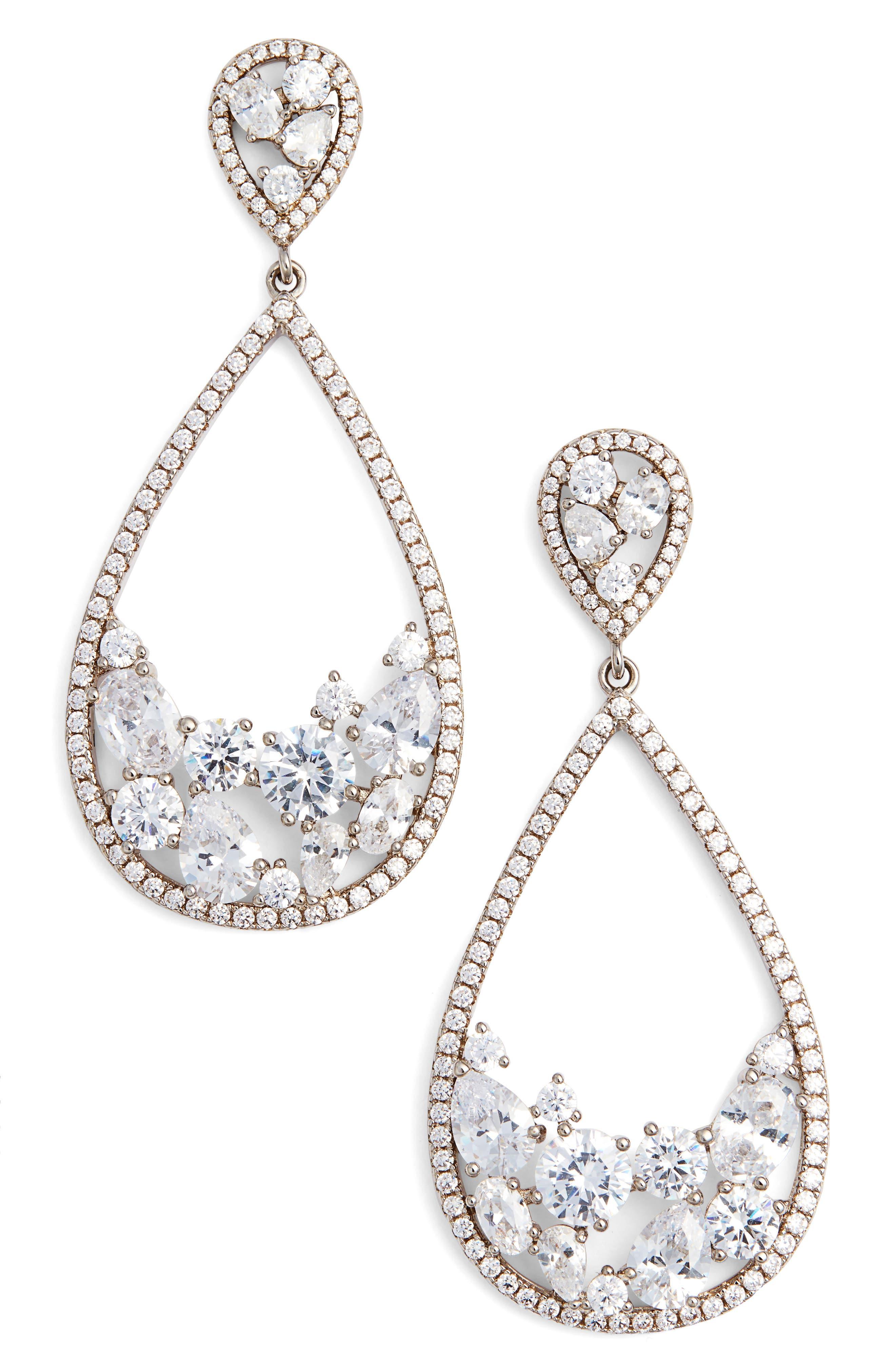 Stone Cluster Open Teardrop Earrings,                         Main,                         color, SILVER/ WHITE CZ
