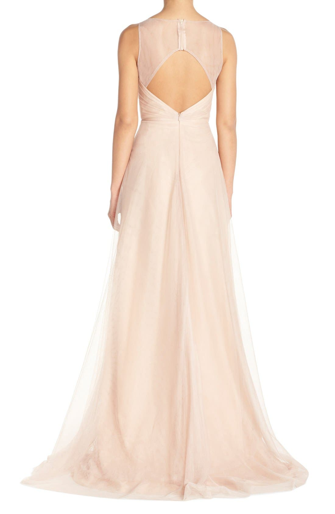 Back Cutout Pleat Tulle Gown,                             Alternate thumbnail 13, color,