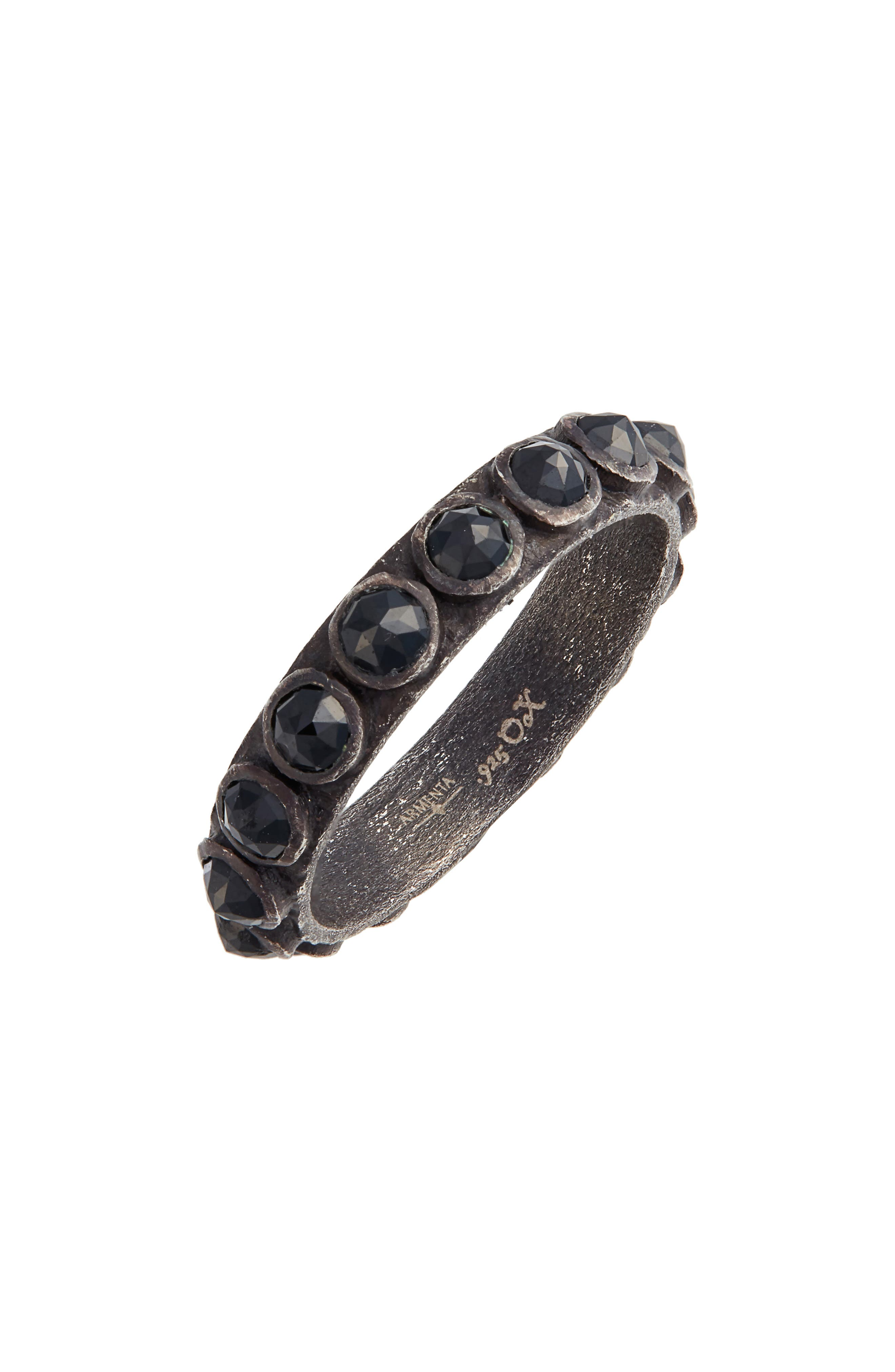 New World Black Spinel Sterling Silver Stackable Ring,                         Main,                         color, BLACKENED SILVER