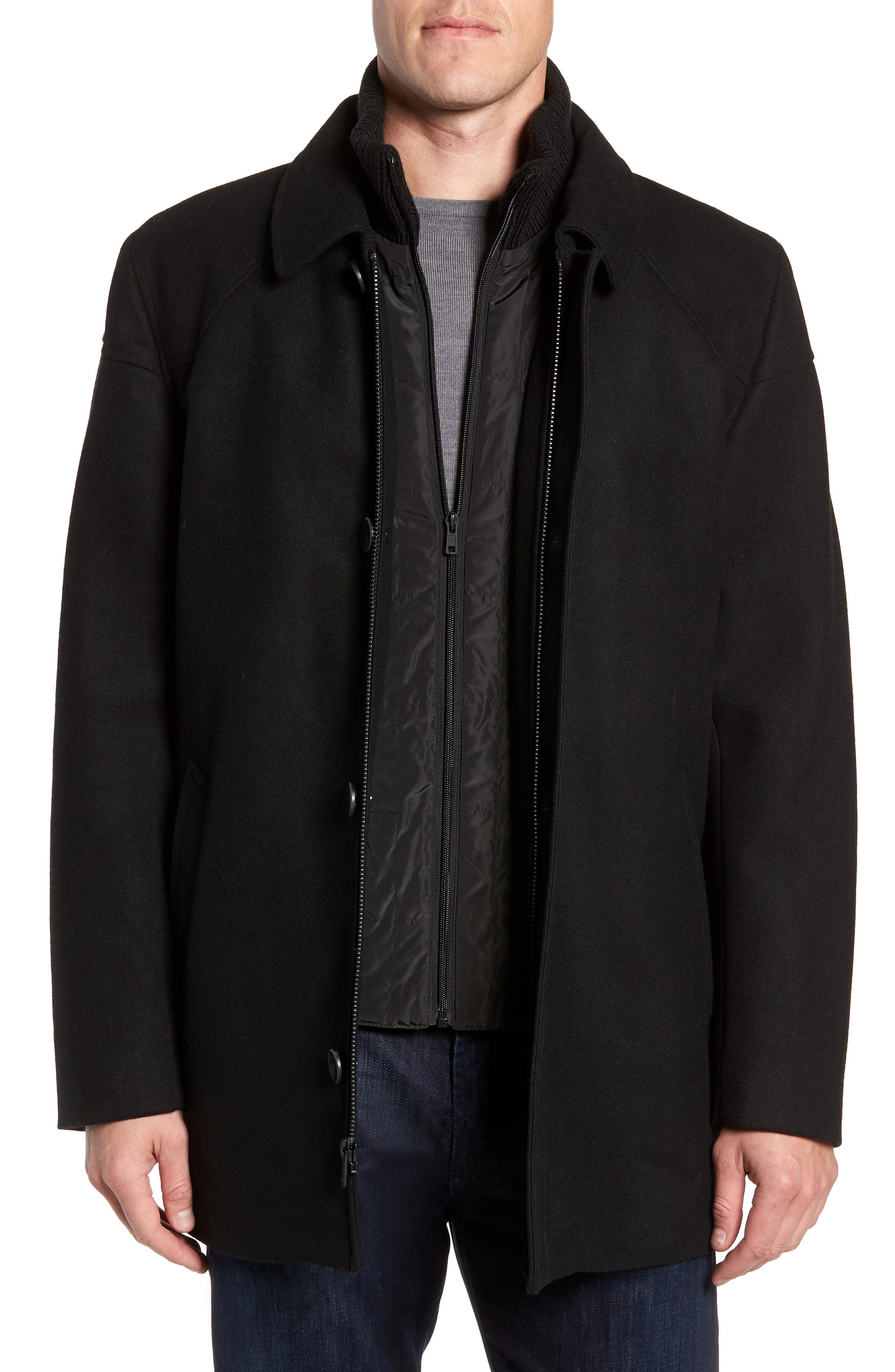 Melton Car Coat with Removable Bib,                             Alternate thumbnail 2, color,                             BLACK