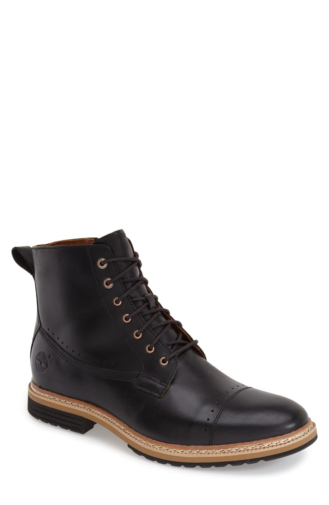 'Westhaven' Cap Toe Boot,                         Main,                         color, BLACK LEATHER