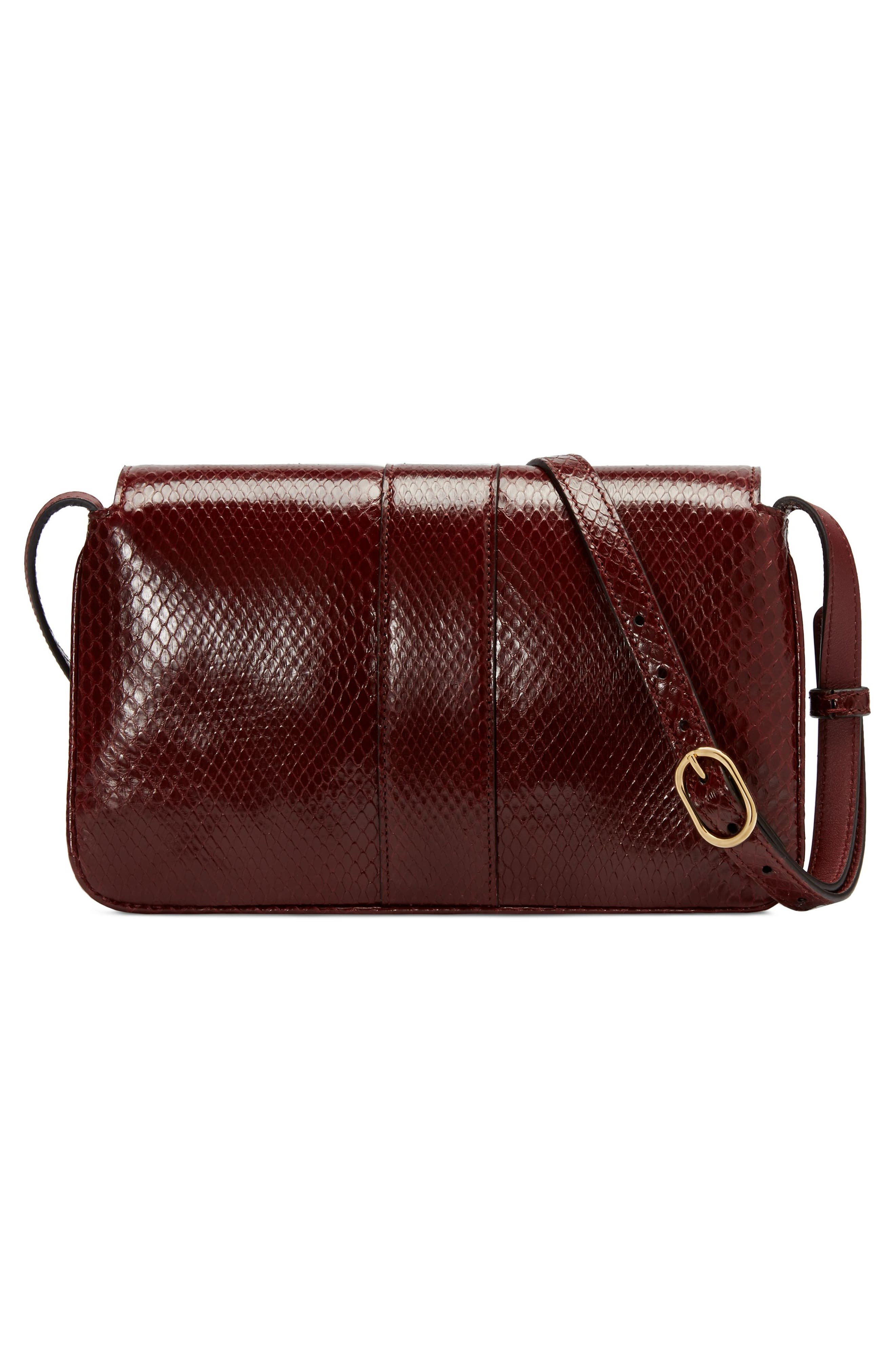 Running Genuine Python Small Shoulder Bag,                             Alternate thumbnail 2, color,                             VINTAGE BORDEAUX