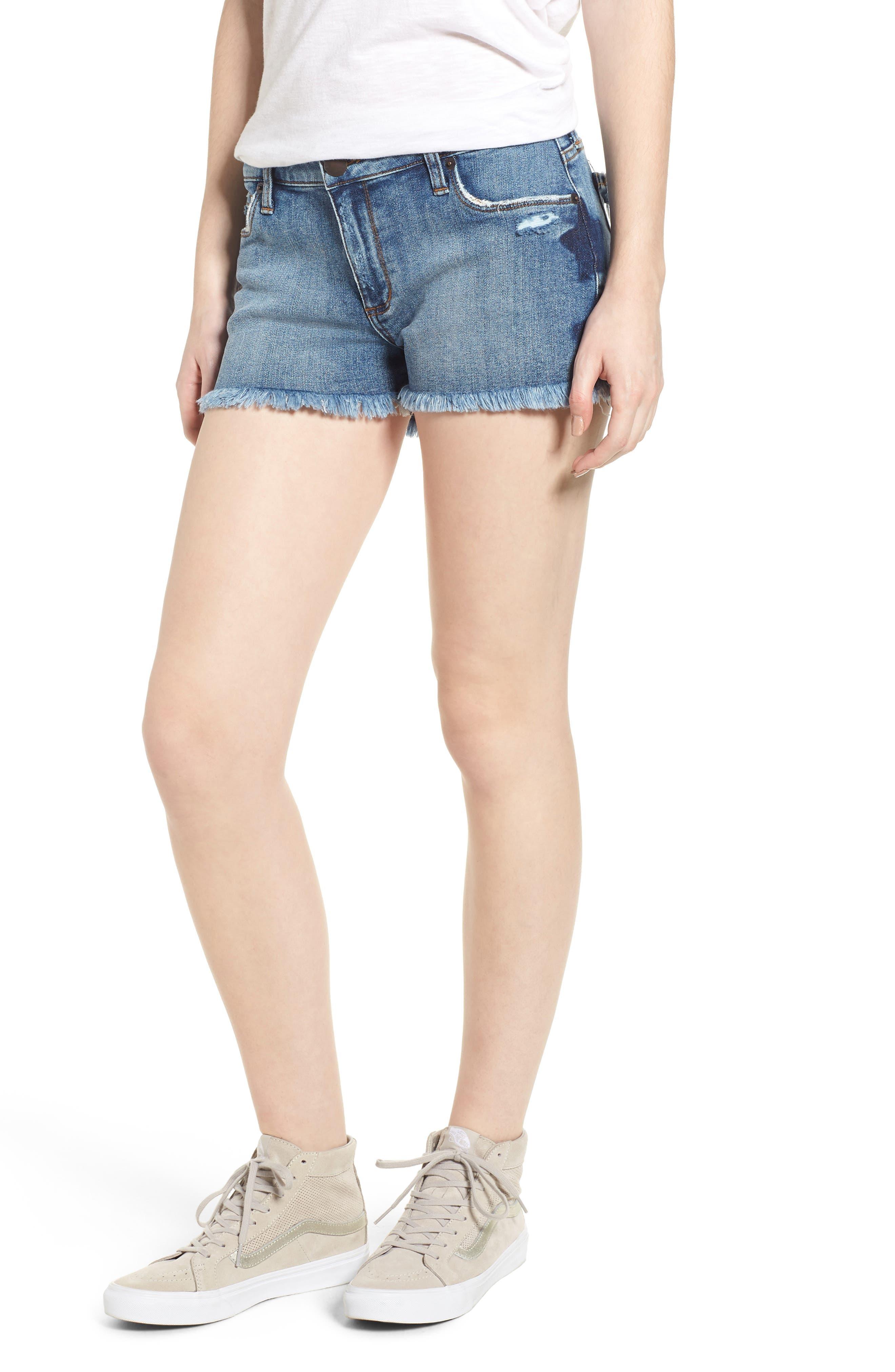 Fray Hem Star Print Denim Shorts,                         Main,                         color,